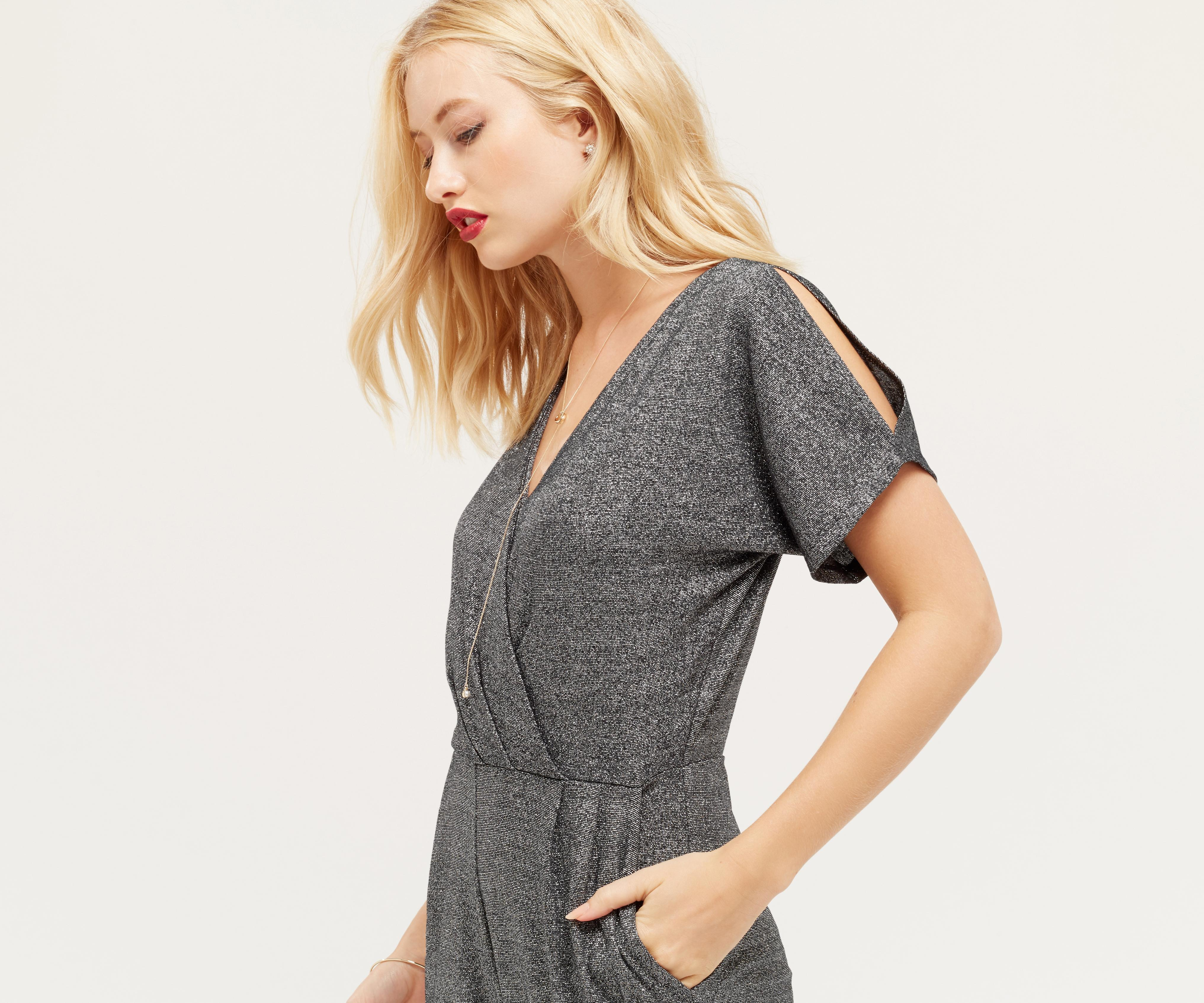 b5a3fb93ff0 Oasis Cold Shoulder Sparkle Jumpsuit - Silver in Metallic - Lyst