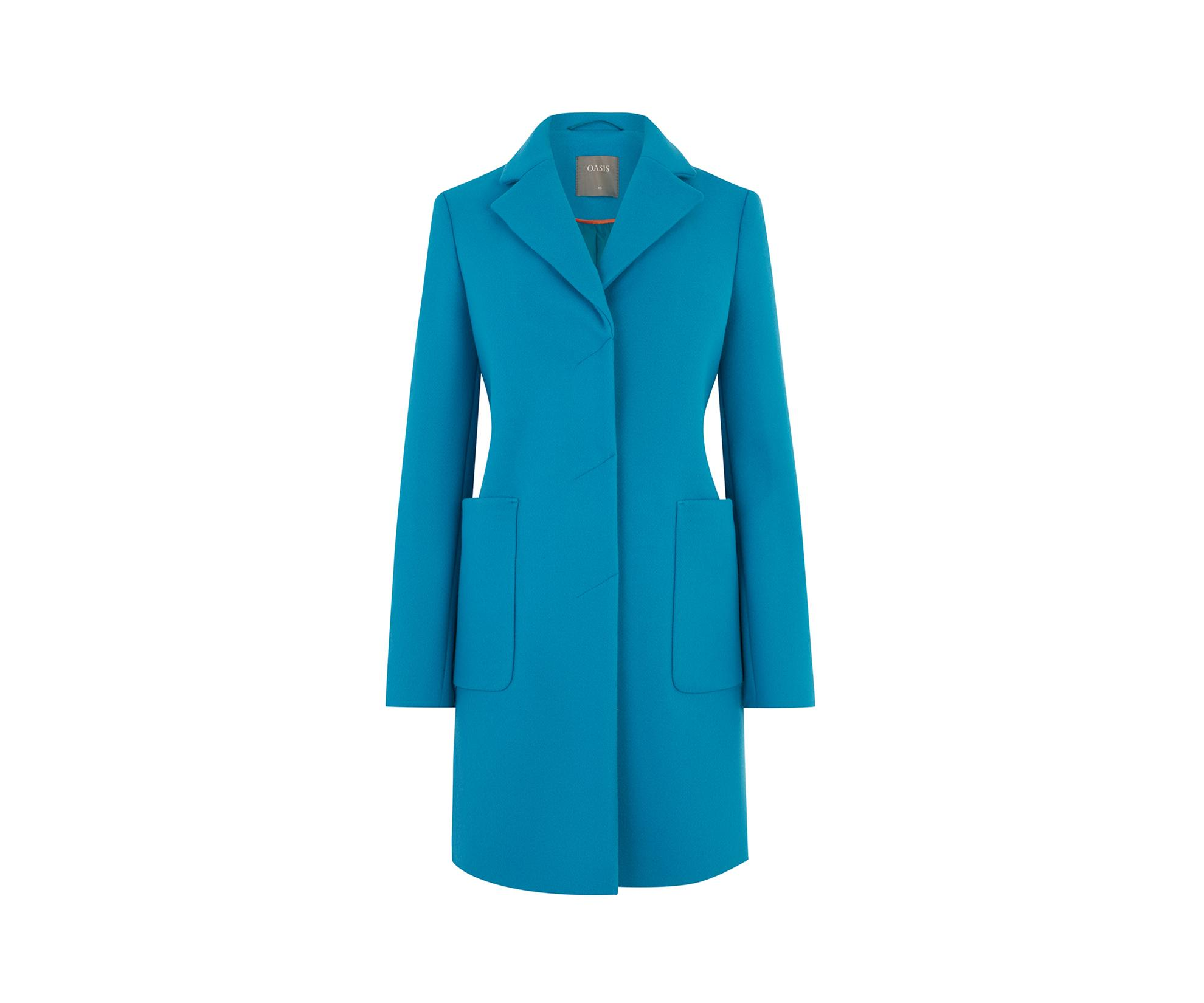 b6e8521ce577 Oasis Teal 'libby' Coat in Blue - Save 20% - Lyst