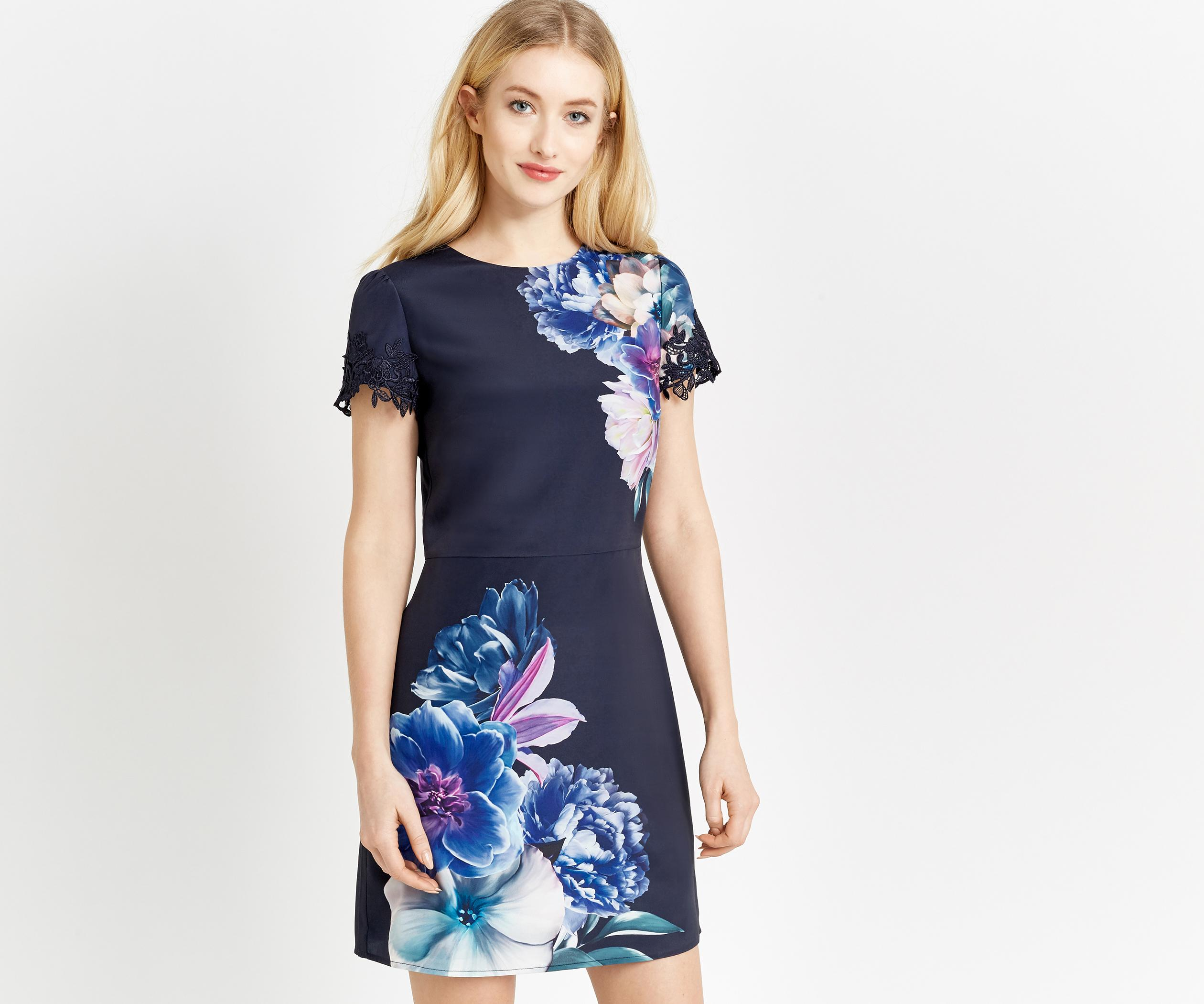 Oasis Wild Floral Shift Dress In Blue Lyst