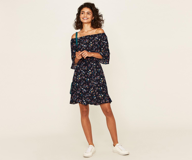 dd5ebf87ea804 Oasis Floral Bardot Skater Dress  Oasis ditsy bardot skater dress ...