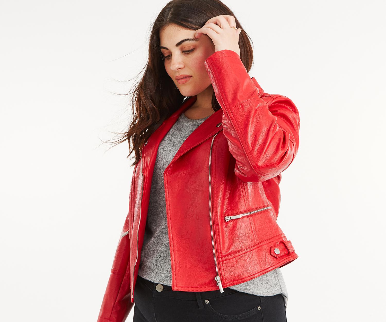 c16e552c0df9 Oasis Curve Biker Jacket* in Red - Lyst