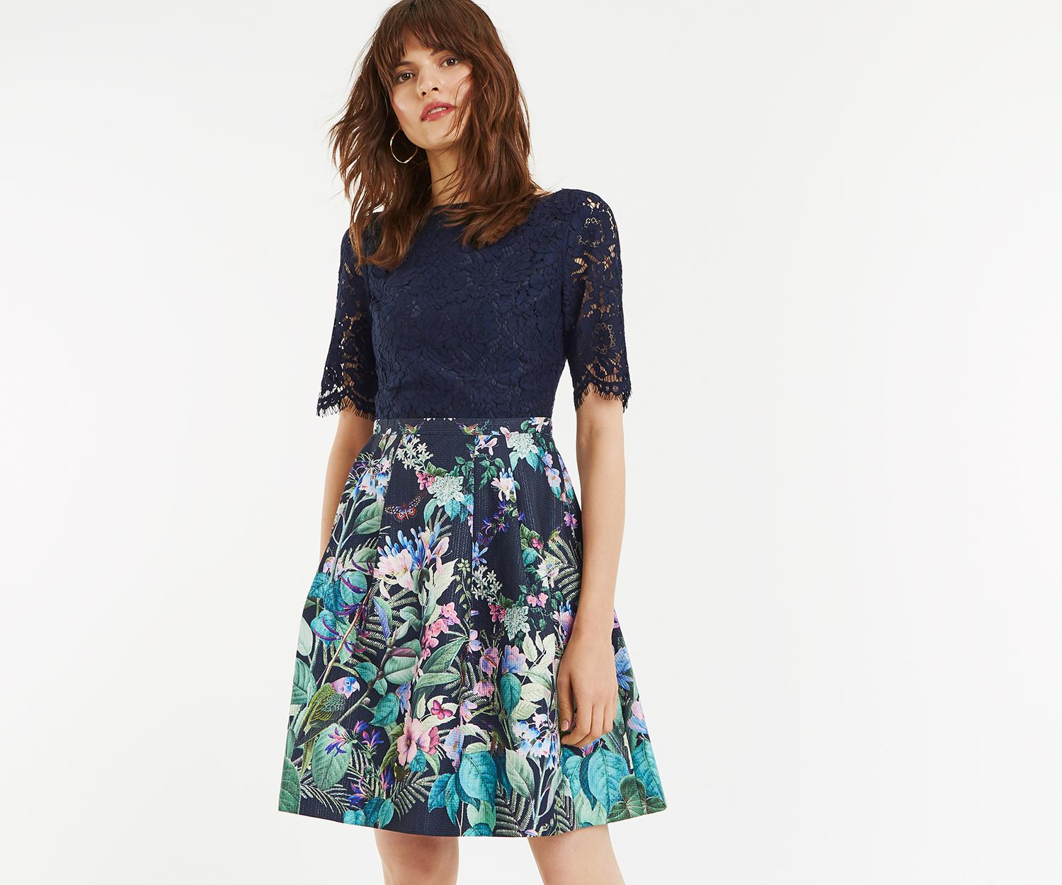 c2e8f01657e3 Lyst - Oasis Lace Top Bloom Skater Dress in Blue