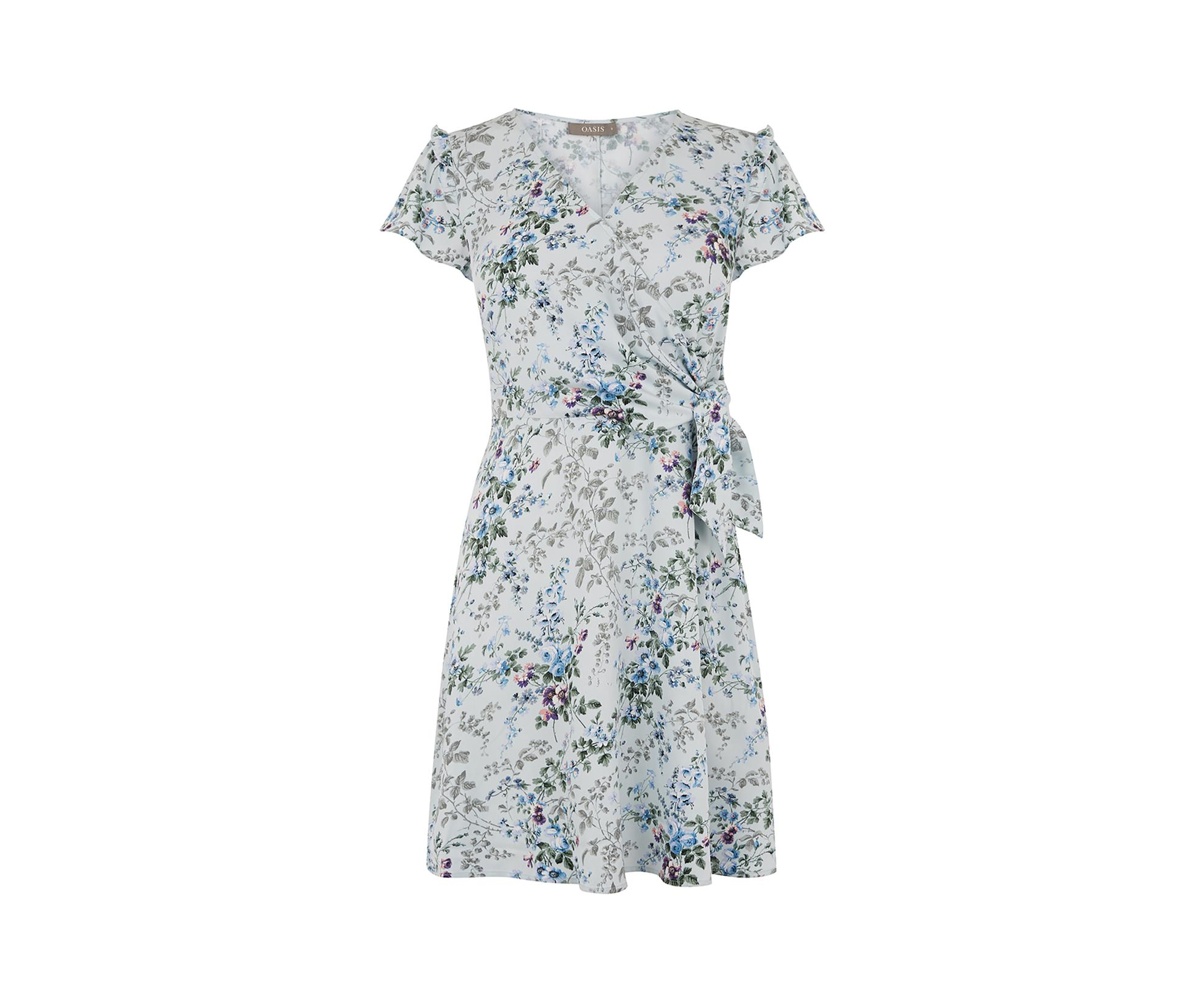 5a706a5dc211 Lyst - Oasis Provence Wrap Dress in Blue