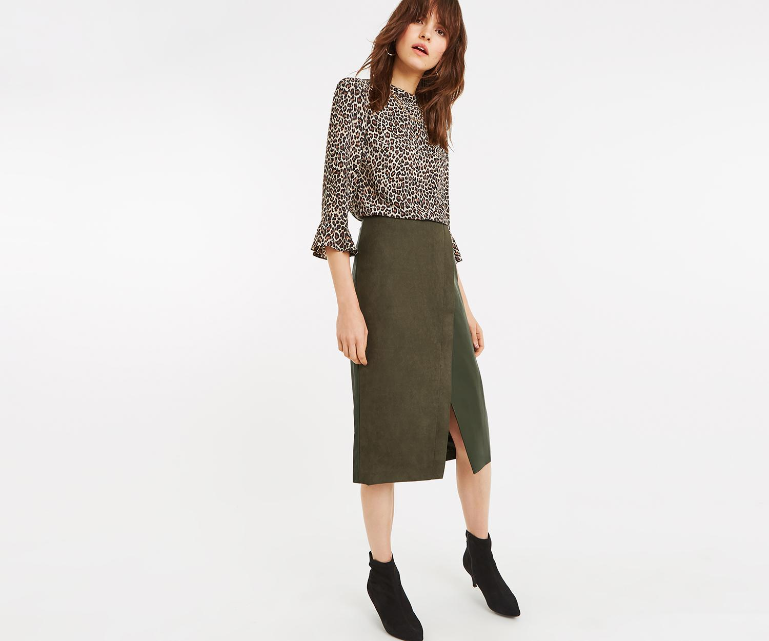 b718fc8d1b Lyst - Oasis Faux Suede Midi Skirt in Green