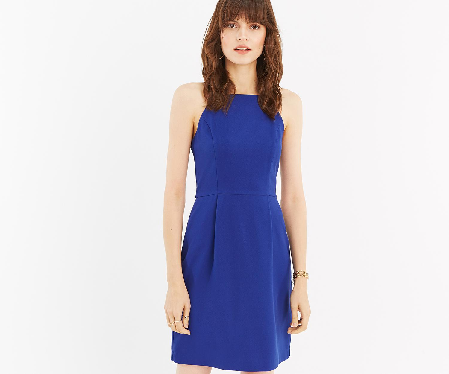 9c6f3cbe6501 Lyst - Oasis Lace Back Shift Dress in Blue