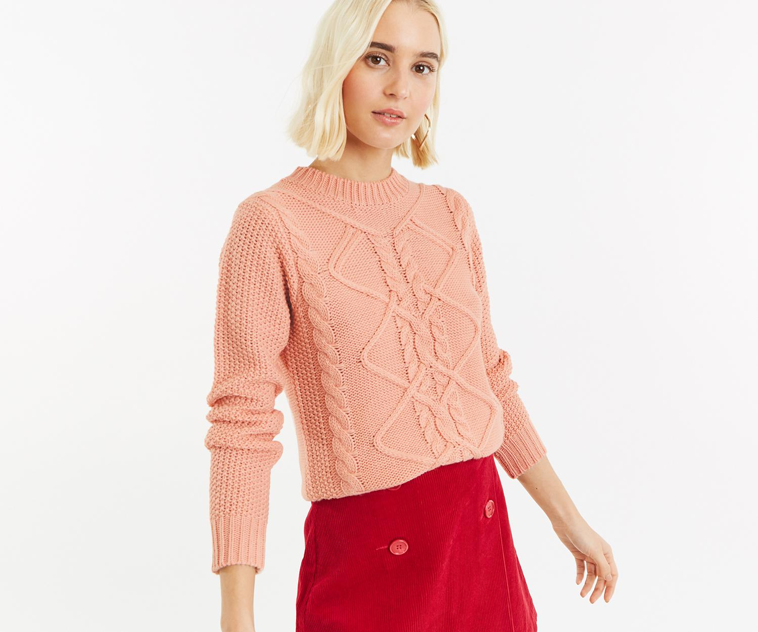 12f455737 Lyst - Oasis Nyla Cable Jumper in Pink