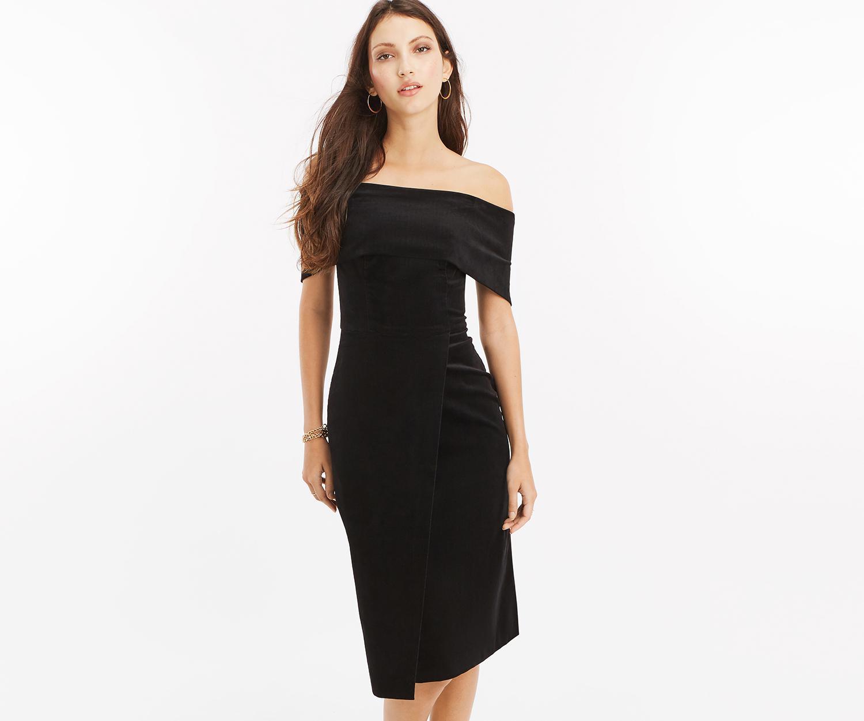 54268b560534 Oasis Velvet Bardot Pencil Dress in Black - Lyst