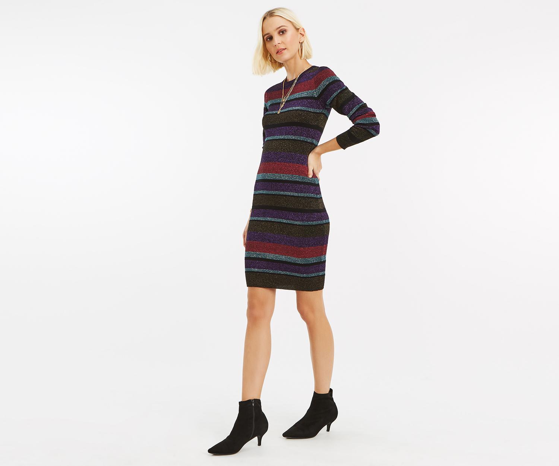 269ba0172 Lyst - Oasis Simone Stripe Lurex Dress in Black