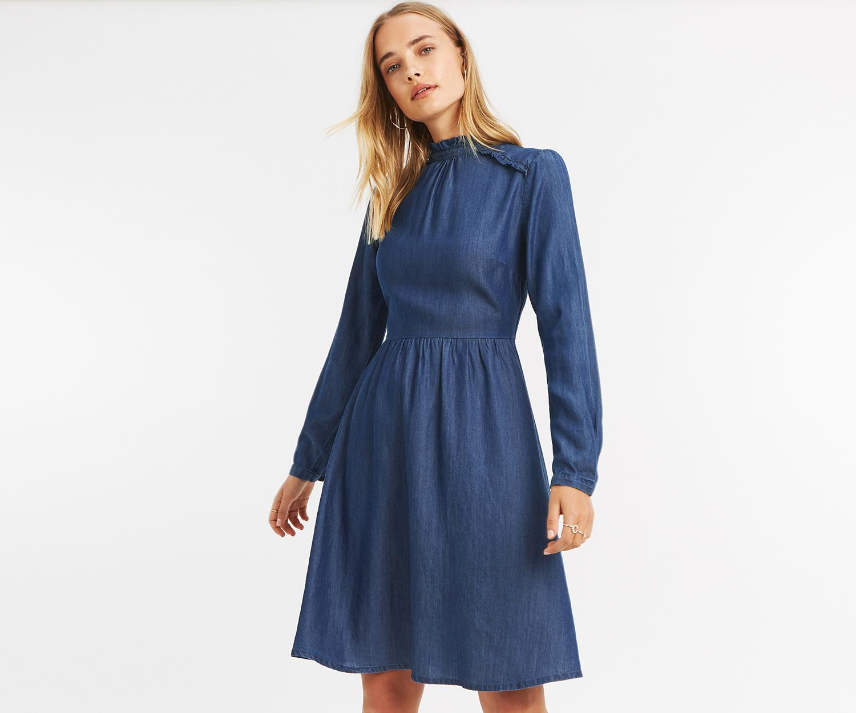 b4405769eb Lyst - Oasis Long Prairie Denim Dress in Blue