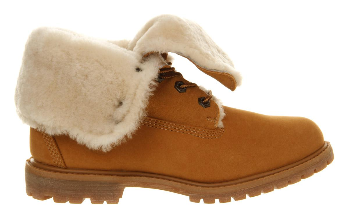 c0fe577659ca0 Timberland Authentic Shearling Fold Down Boots in Natural - Lyst