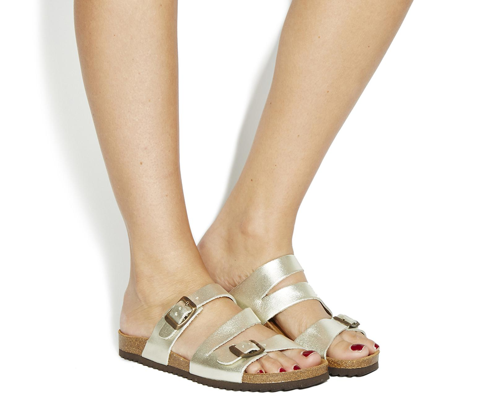 c14257faac46 Lyst - Office Bounty Cross Strap Footbed in Metallic