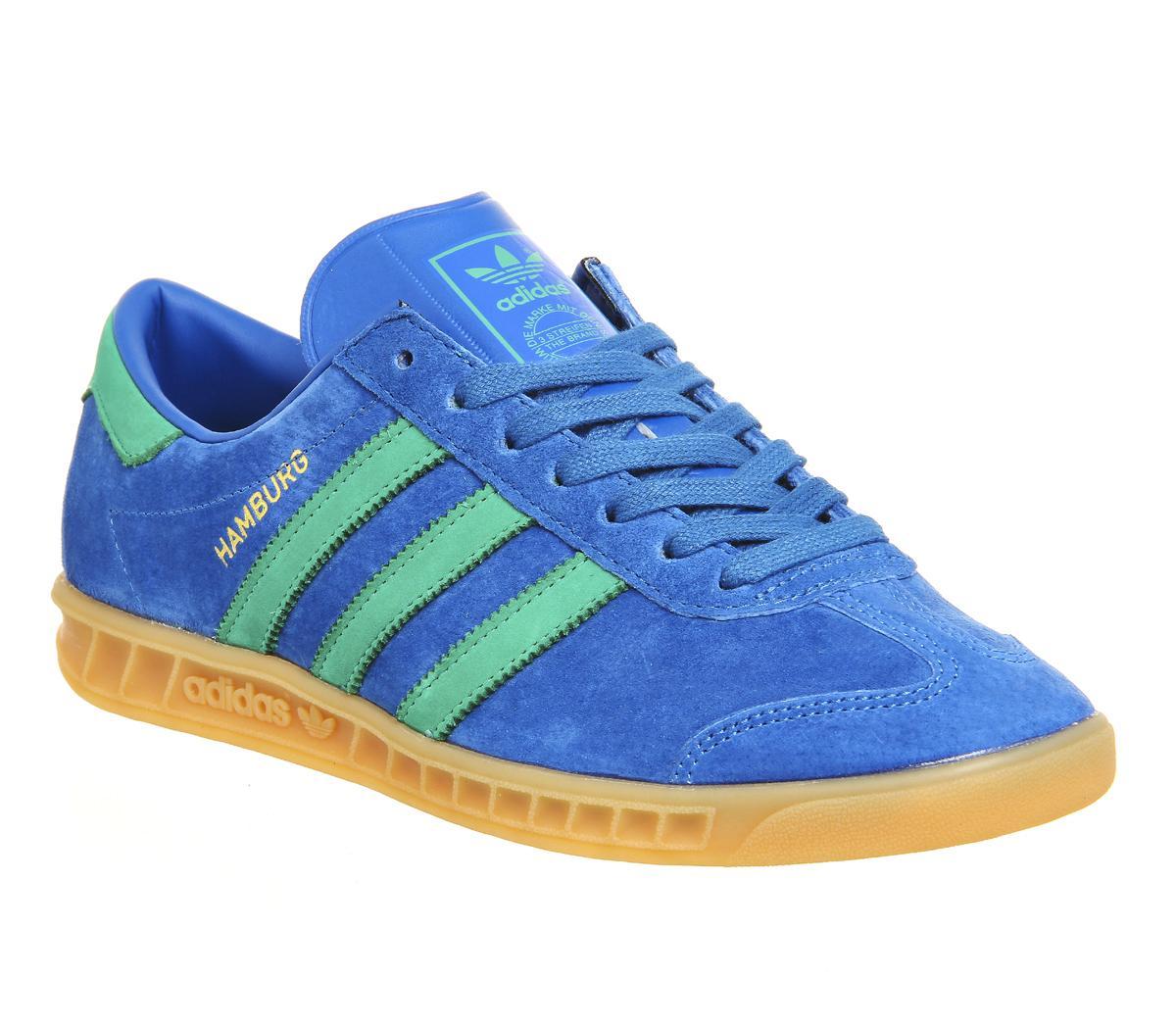 Adidas Hamburg Leather Trainers WhiteBold Blue