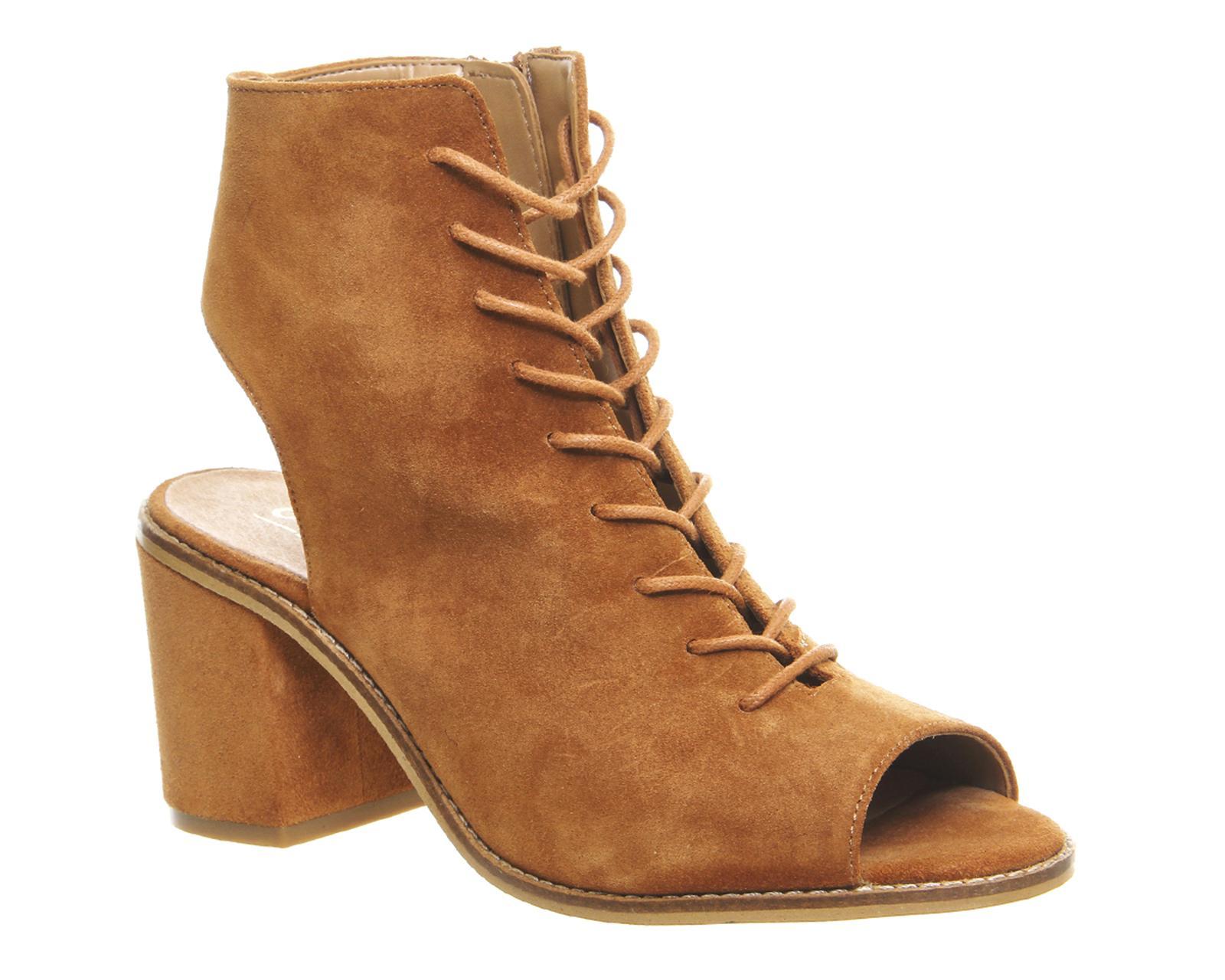 Office Wycliffe Lace Up Peep Toe Block Heels In Brown Lyst