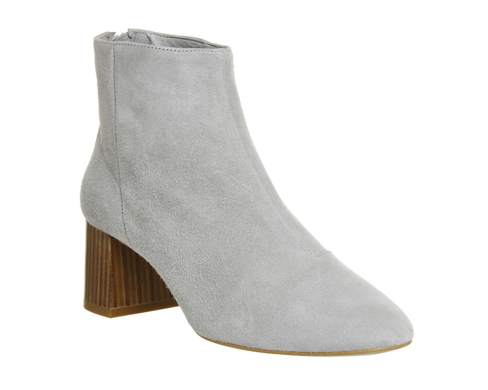 office jazz block heel boots in gray grey lyst