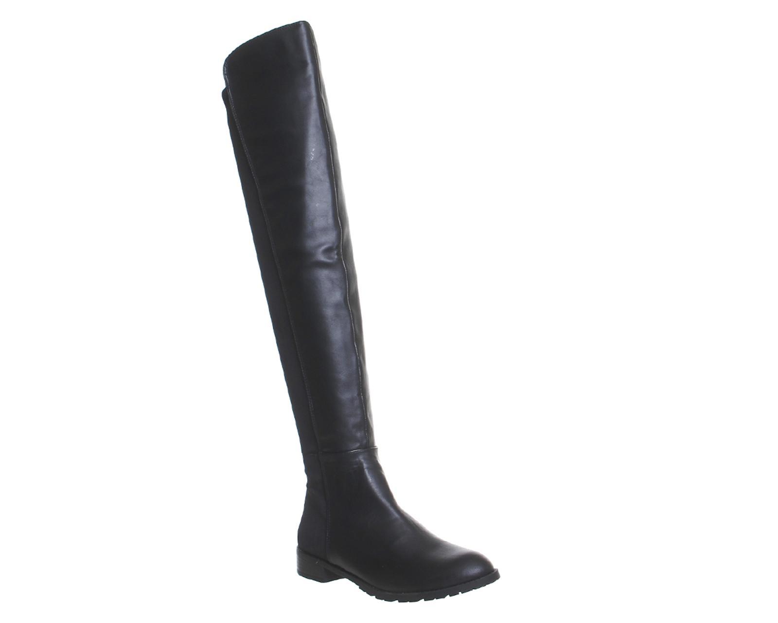 office kiwi flat the knee boots in black lyst