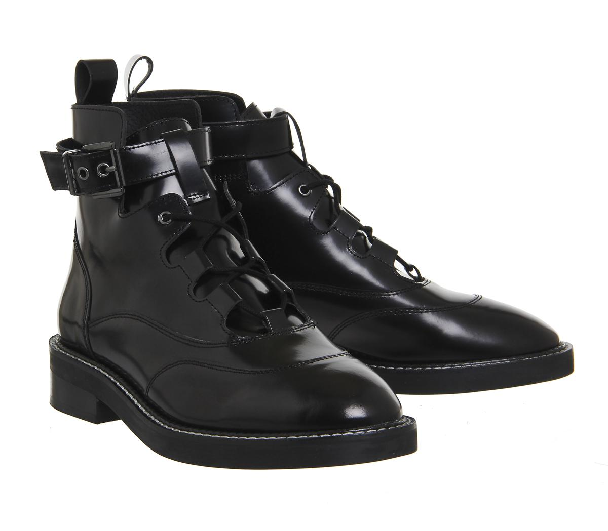 2a8ede8a35 Lyst - Office Lava Lace Up Buckle Boots in Black