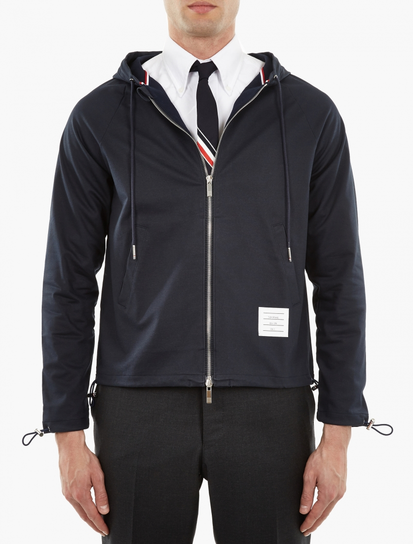 Thom browne navy cotton coach jacket in black for men lyst for Coach jacket