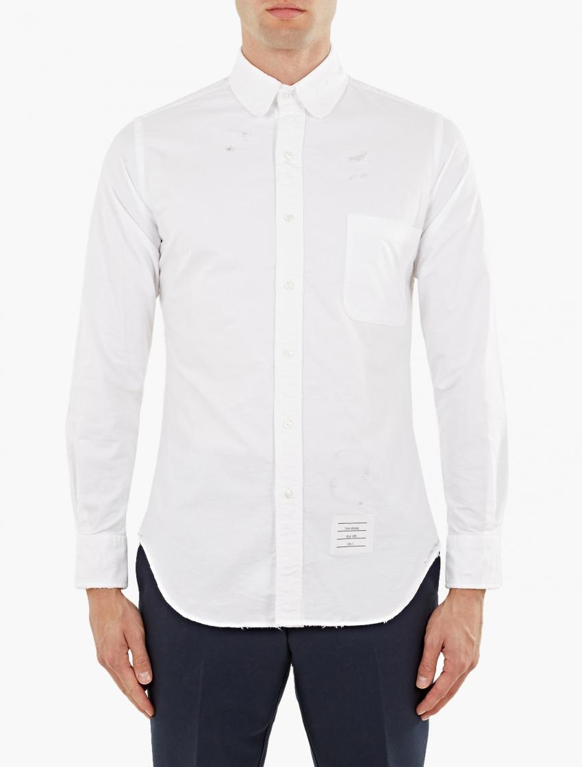 Thom browne white distressed round collar shirt in black for Round collar shirt men
