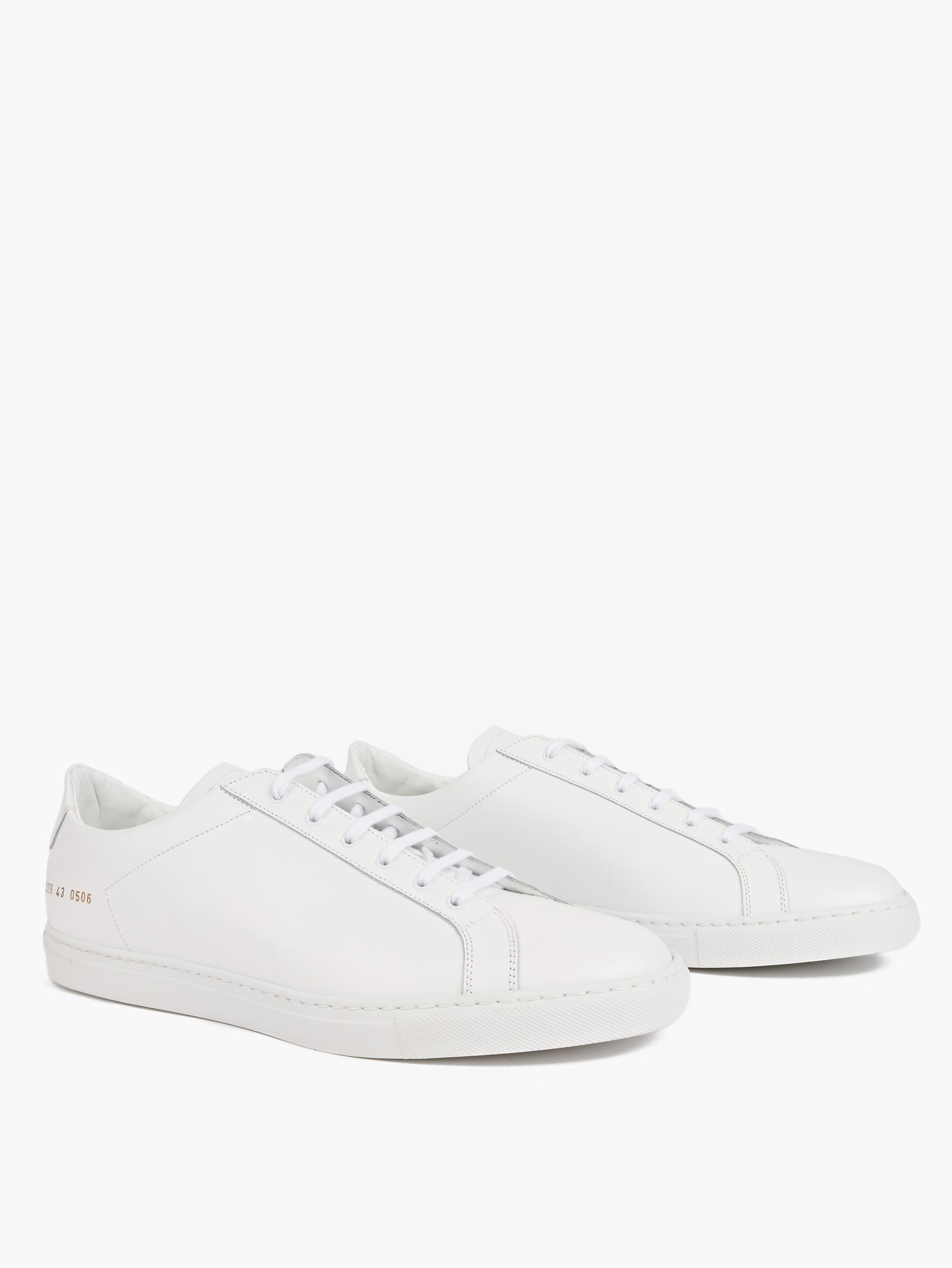 common projects white leather retro low sneakers for men lyst. Black Bedroom Furniture Sets. Home Design Ideas