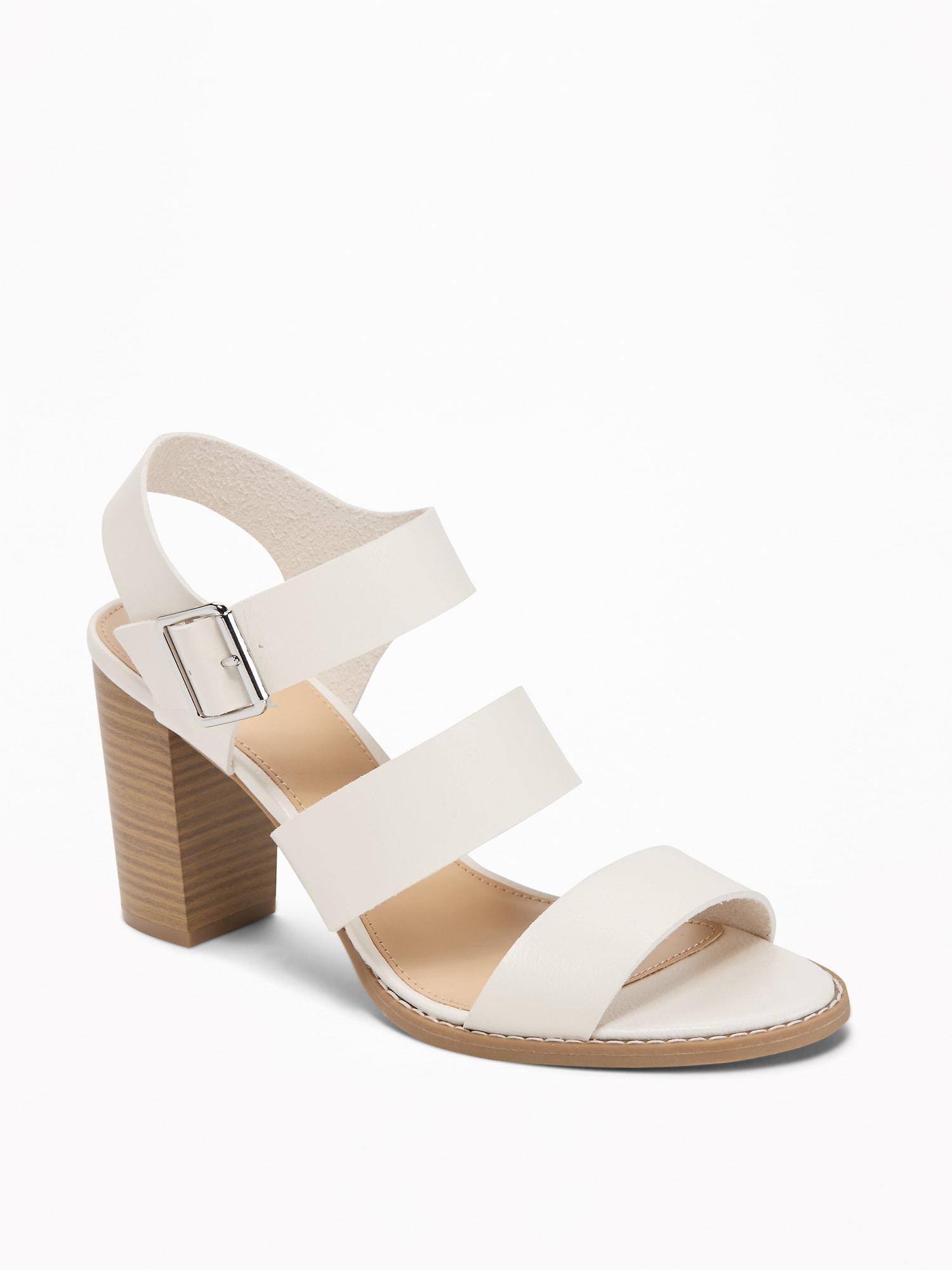 00f0e1e314e ... Three-strap Block-heel Sandals - Lyst. View fullscreen