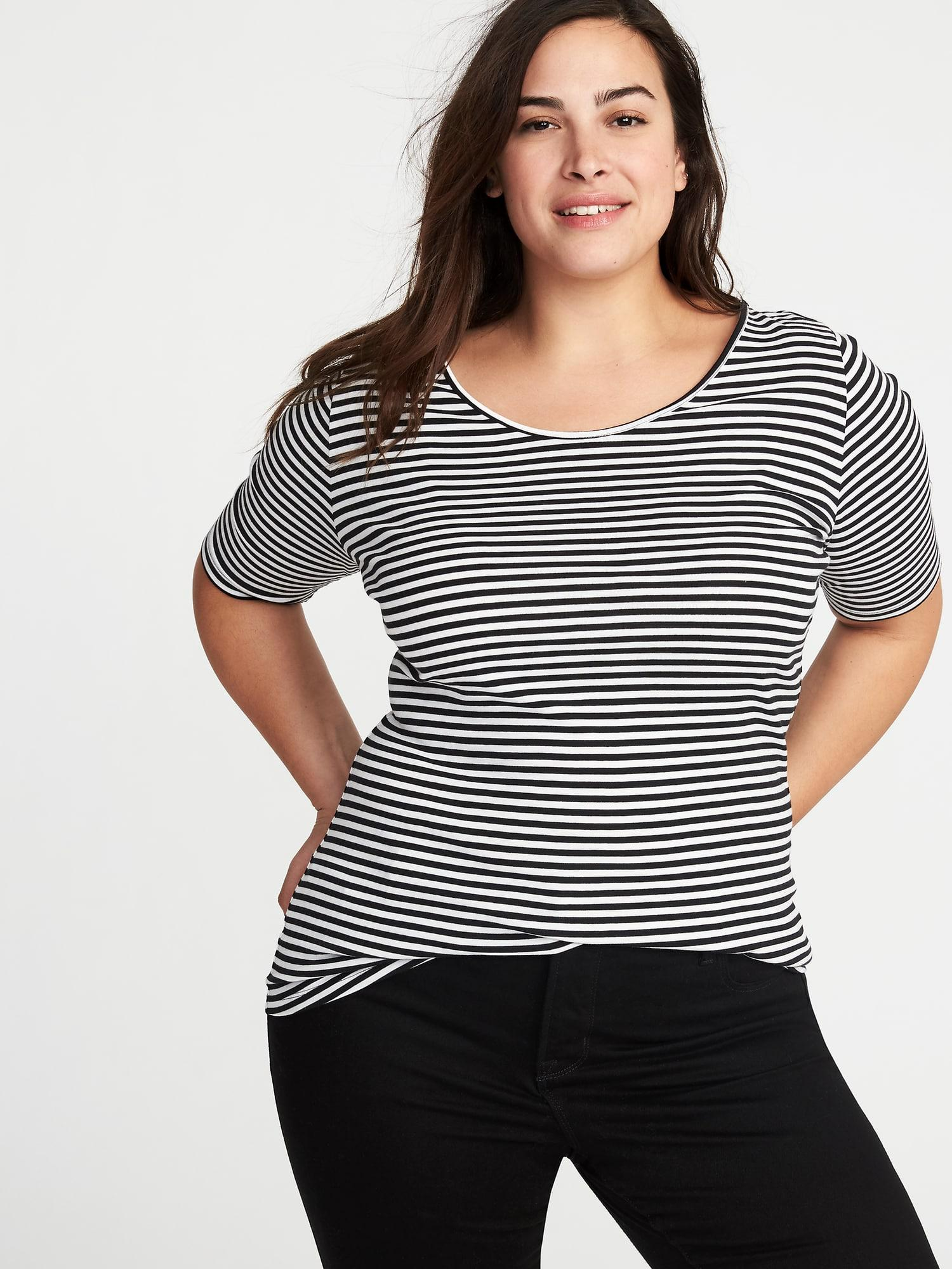 25fd0a4cfd0 Lyst - Old Navy Fitted Ballet-neck Plus-size Jersey Tee in Black