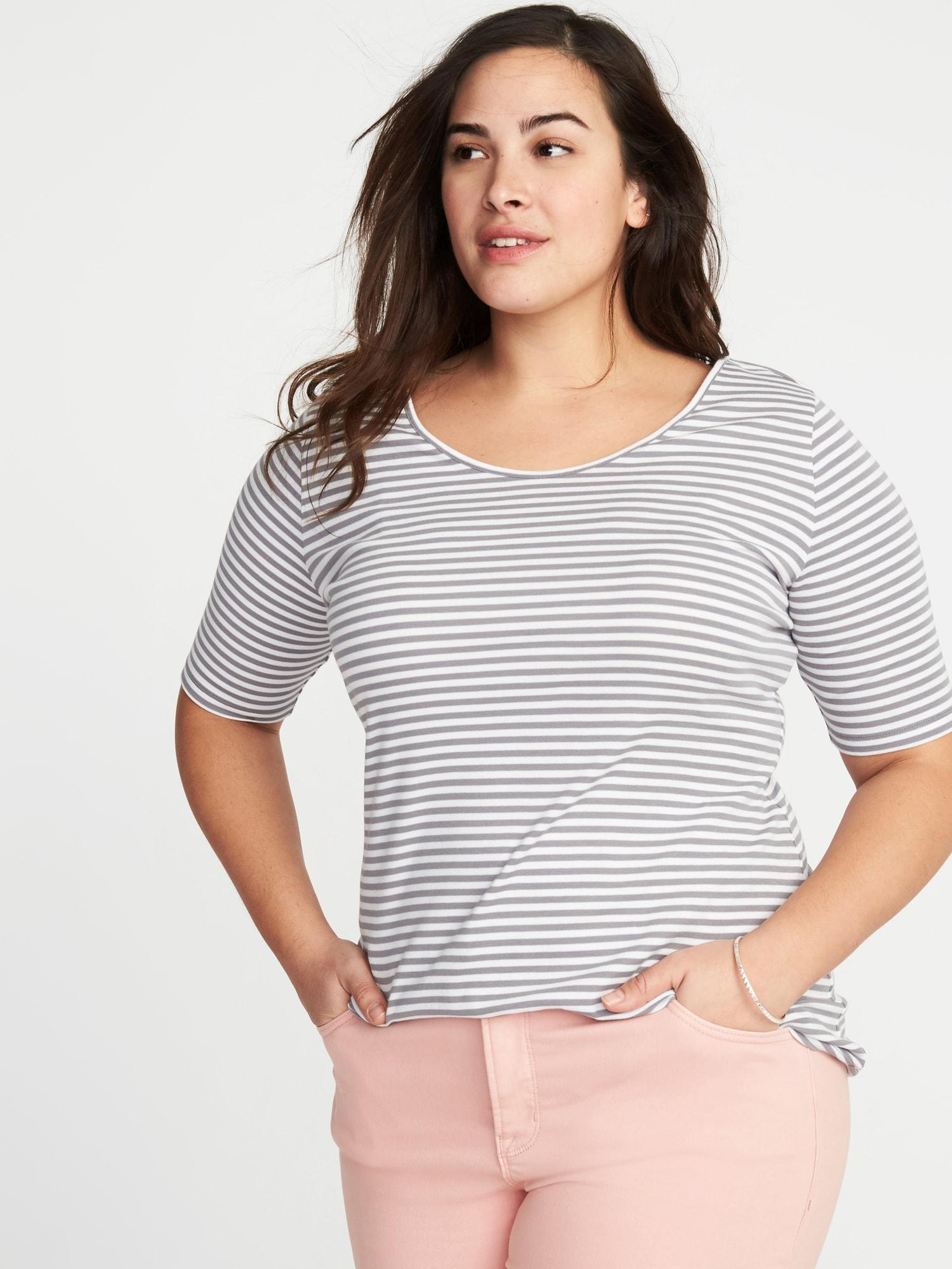 0f53fa6bfeb Lyst - Old Navy Fitted Ballet-neck Plus-size Jersey Tee in Gray