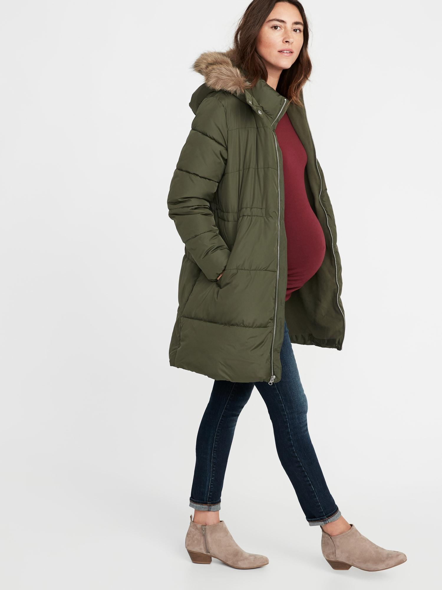 35a684fbc368b Old Navy Maternity Long-line Hooded Frost-free Puffer Jacket in ...