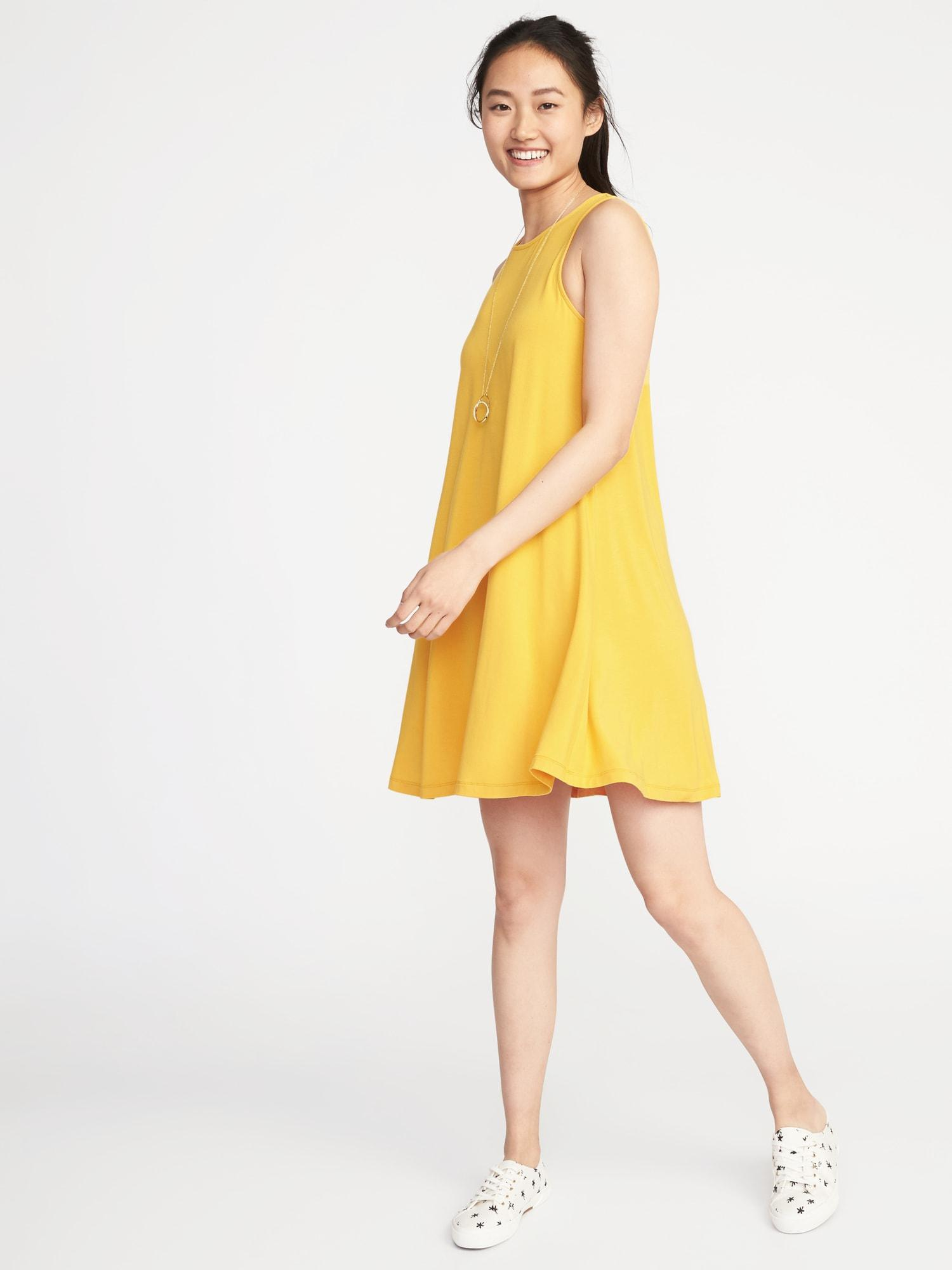 b3f101dc4174c Lyst - Old Navy Jersey-knit Sleeveless Swing Dress in Yellow