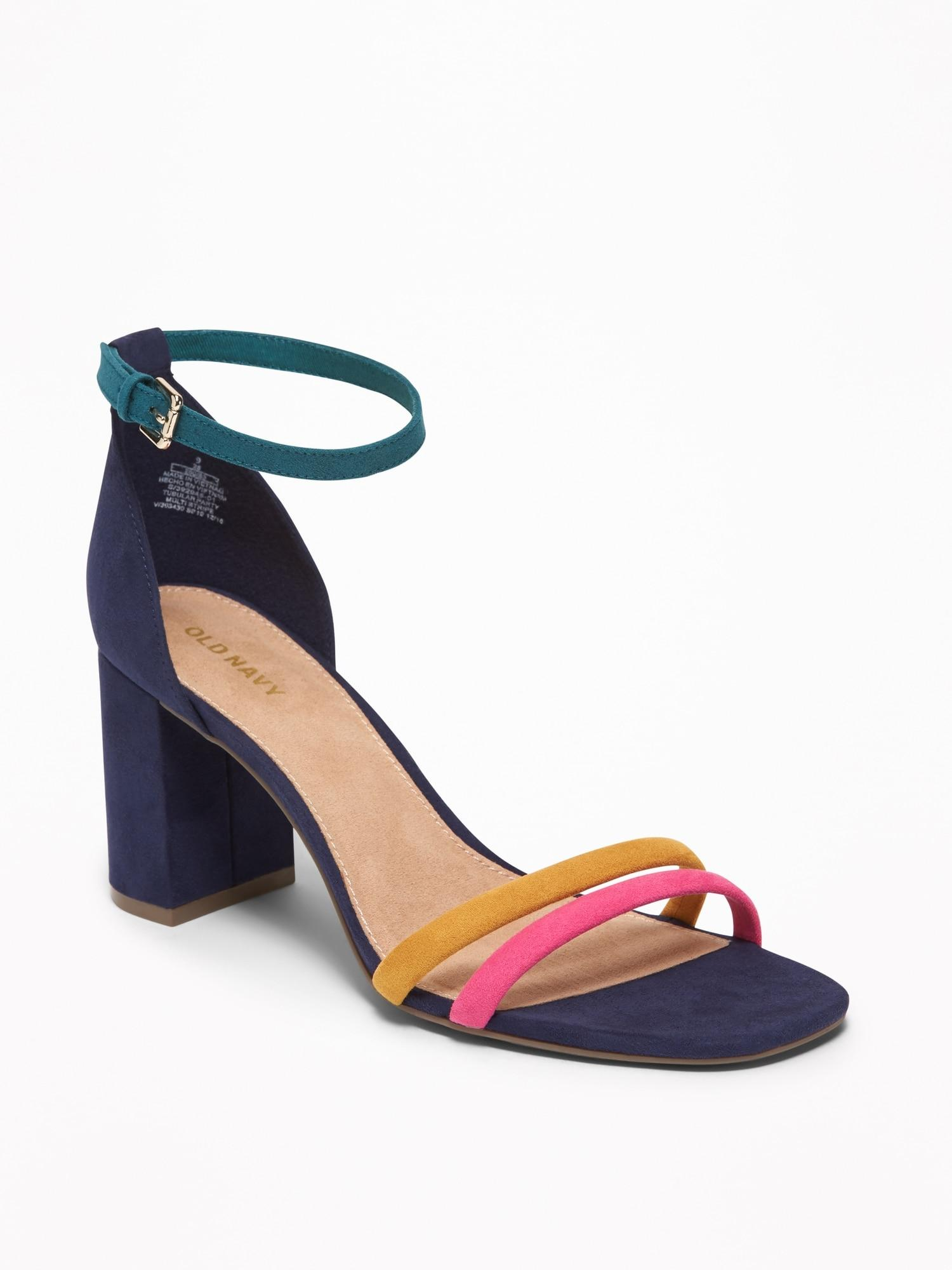 a4988170691 Lyst - Old Navy Strappy Block-heel Sandals in Blue
