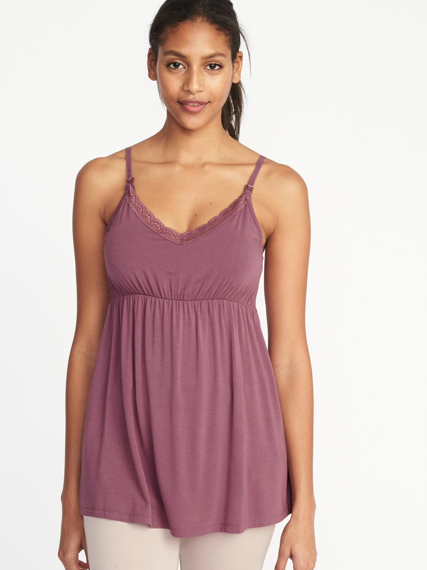 3016a4c626178 Lyst - Old Navy Maternity Lace-trim Nursing Cami in Purple