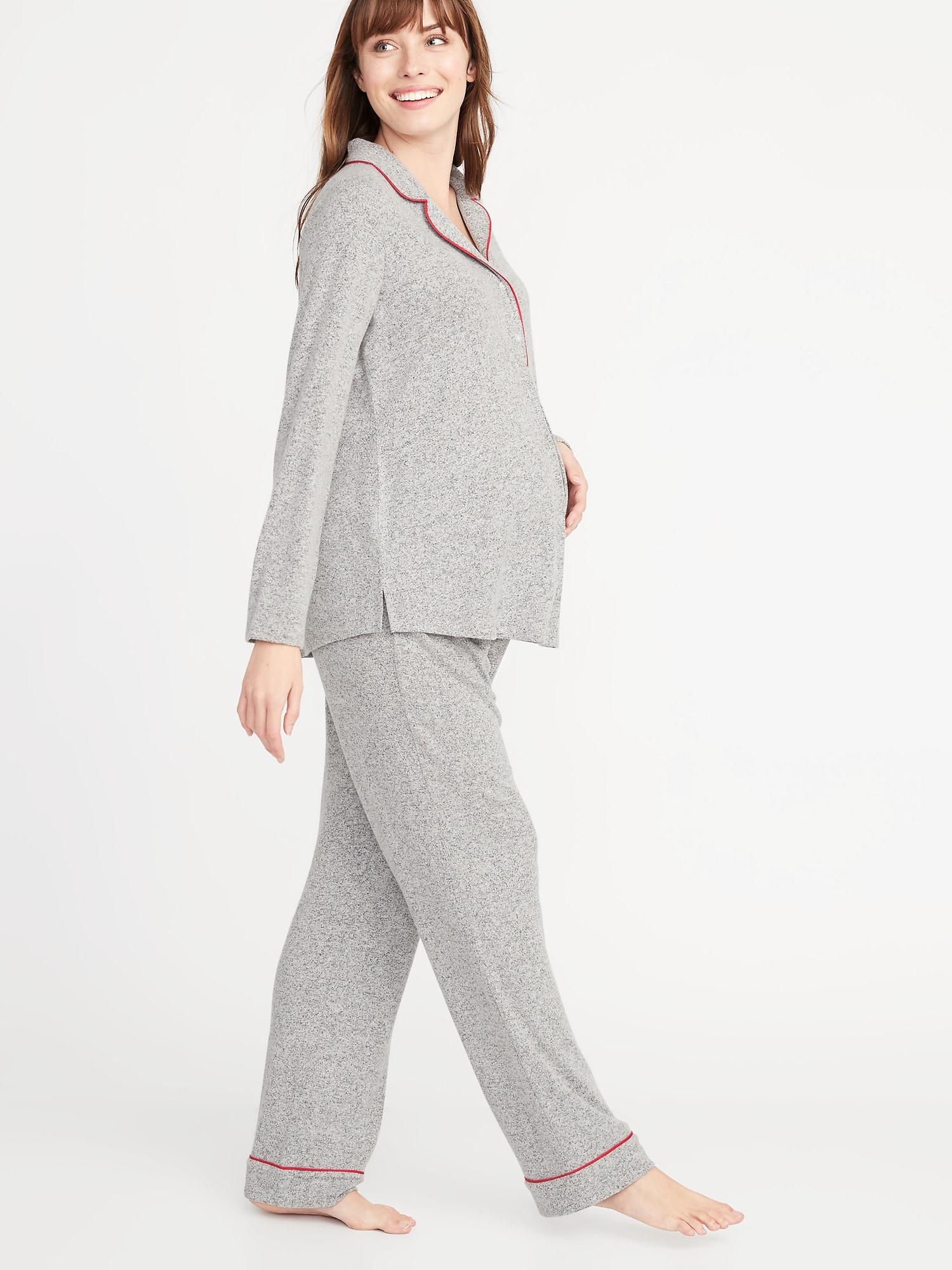 842d7a29b98 Lyst - Old Navy Maternity Plush-knit Jersey Sleep Set in Gray