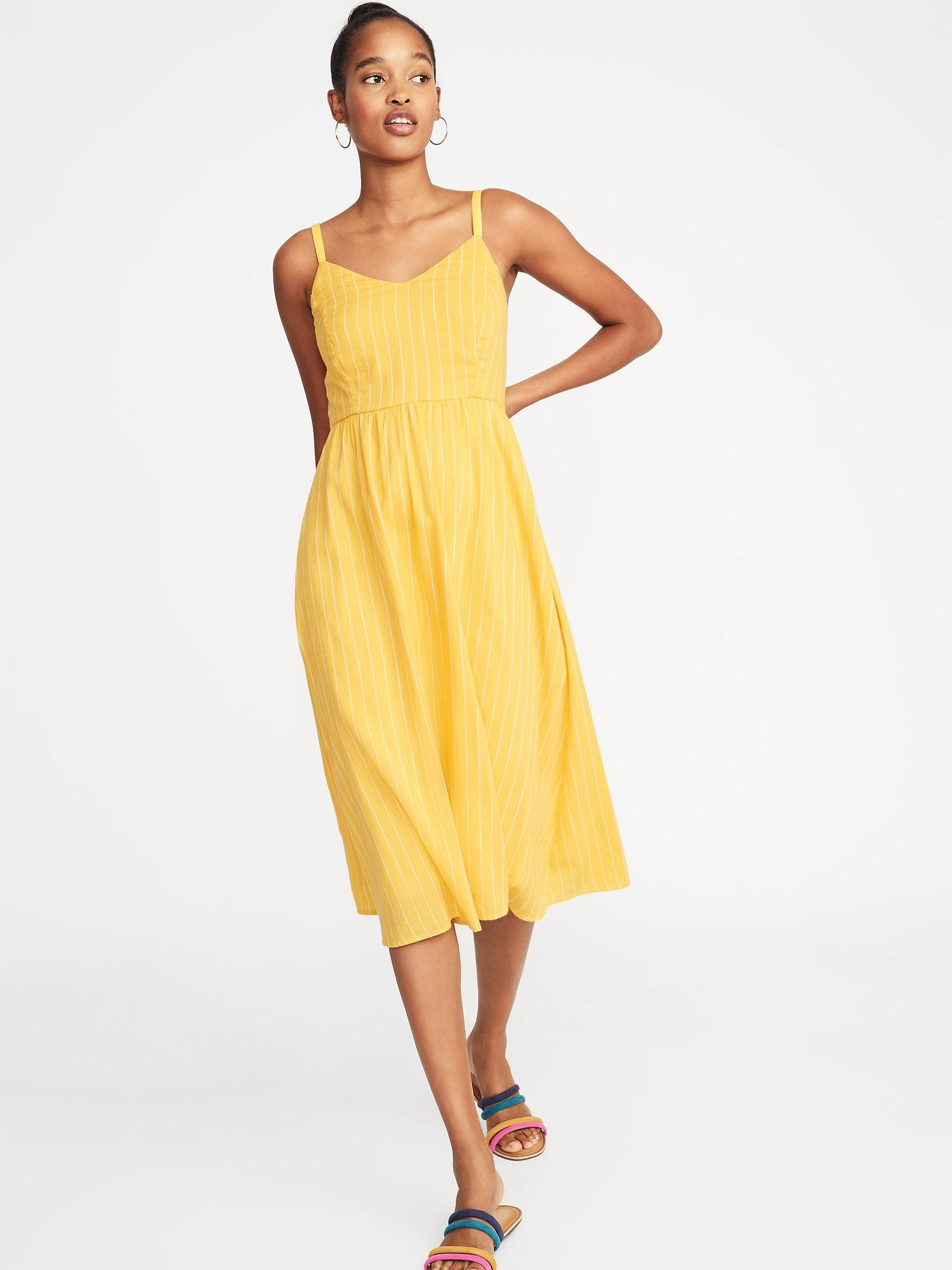 359ad6322542 Old Navy Fit & Flare Cami Midi Dress in Yellow - Lyst
