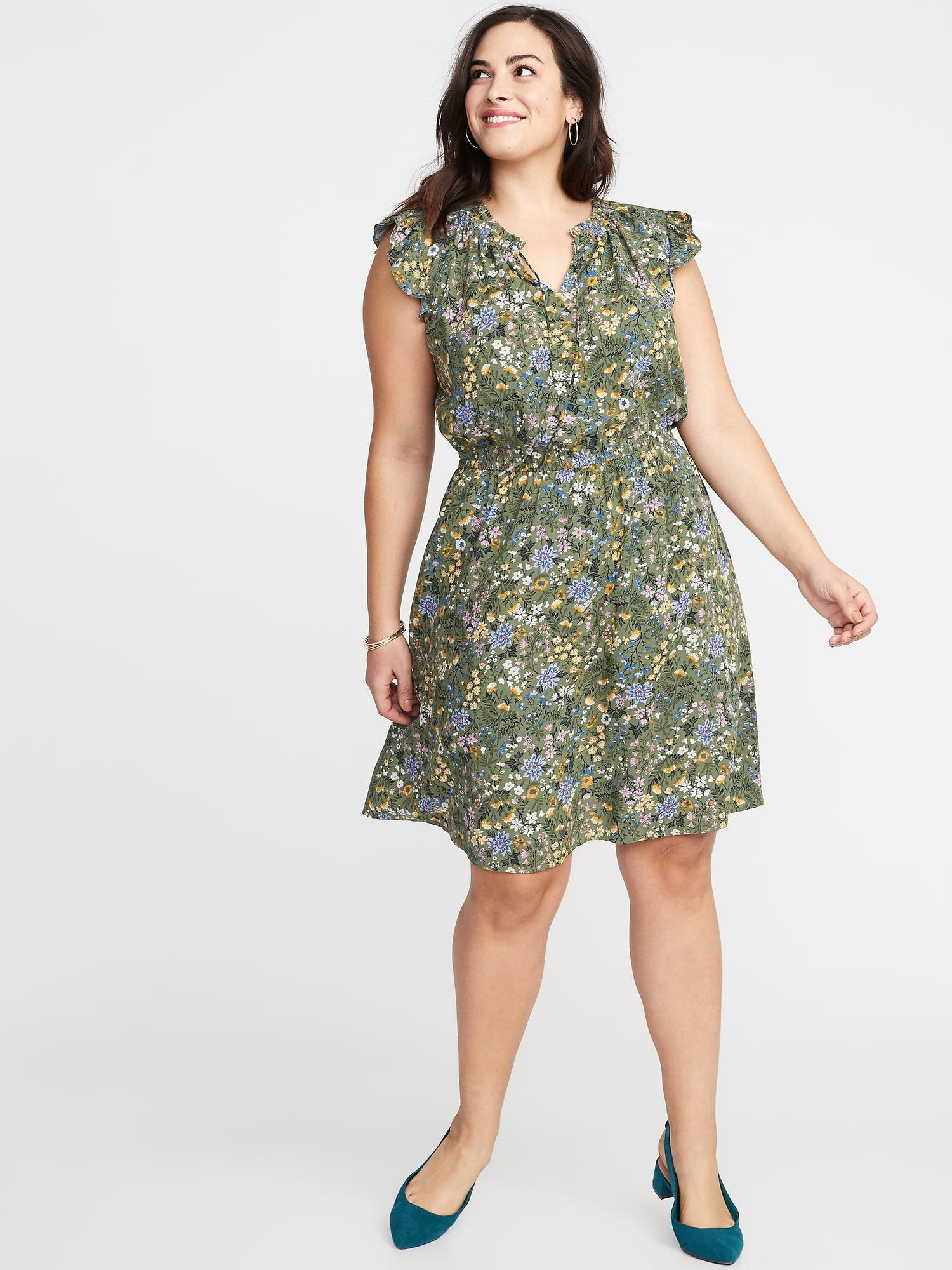14eba81279 No. Old Navy - Green Waist-defined Flutter-sleeve Plus-size Dress - Lyst.  View fullscreen