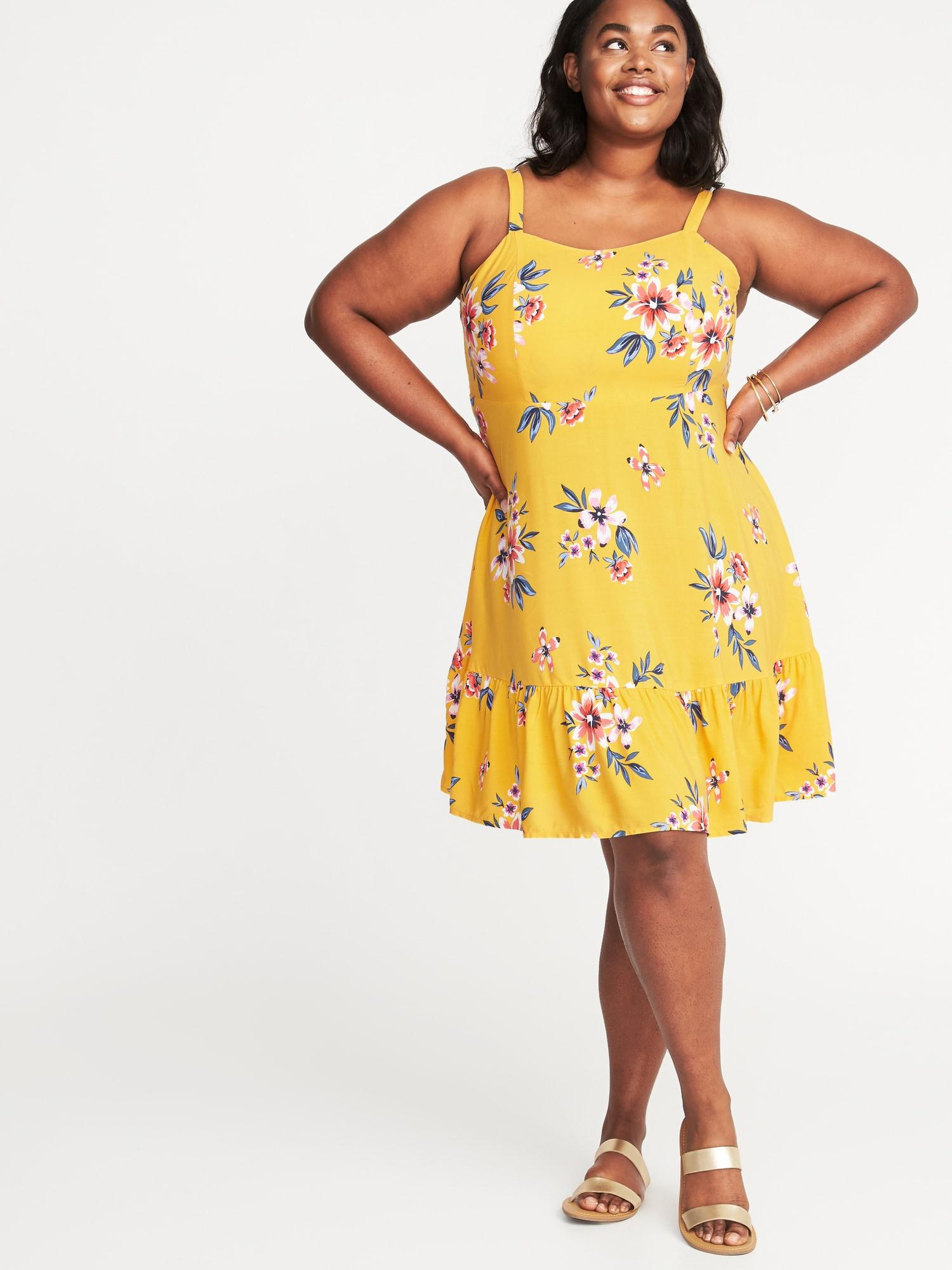 Old Navy Plus-size Fit & Flare Cami Dress in Yellow - Lyst