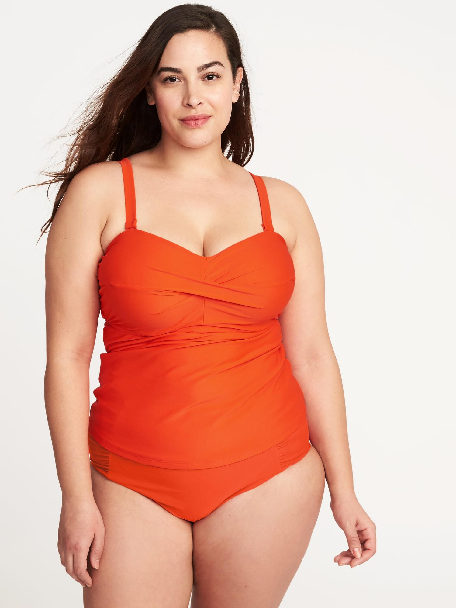 2d3bb95296 Old Navy Underwire Plus-size Tankini Top in Orange - Lyst