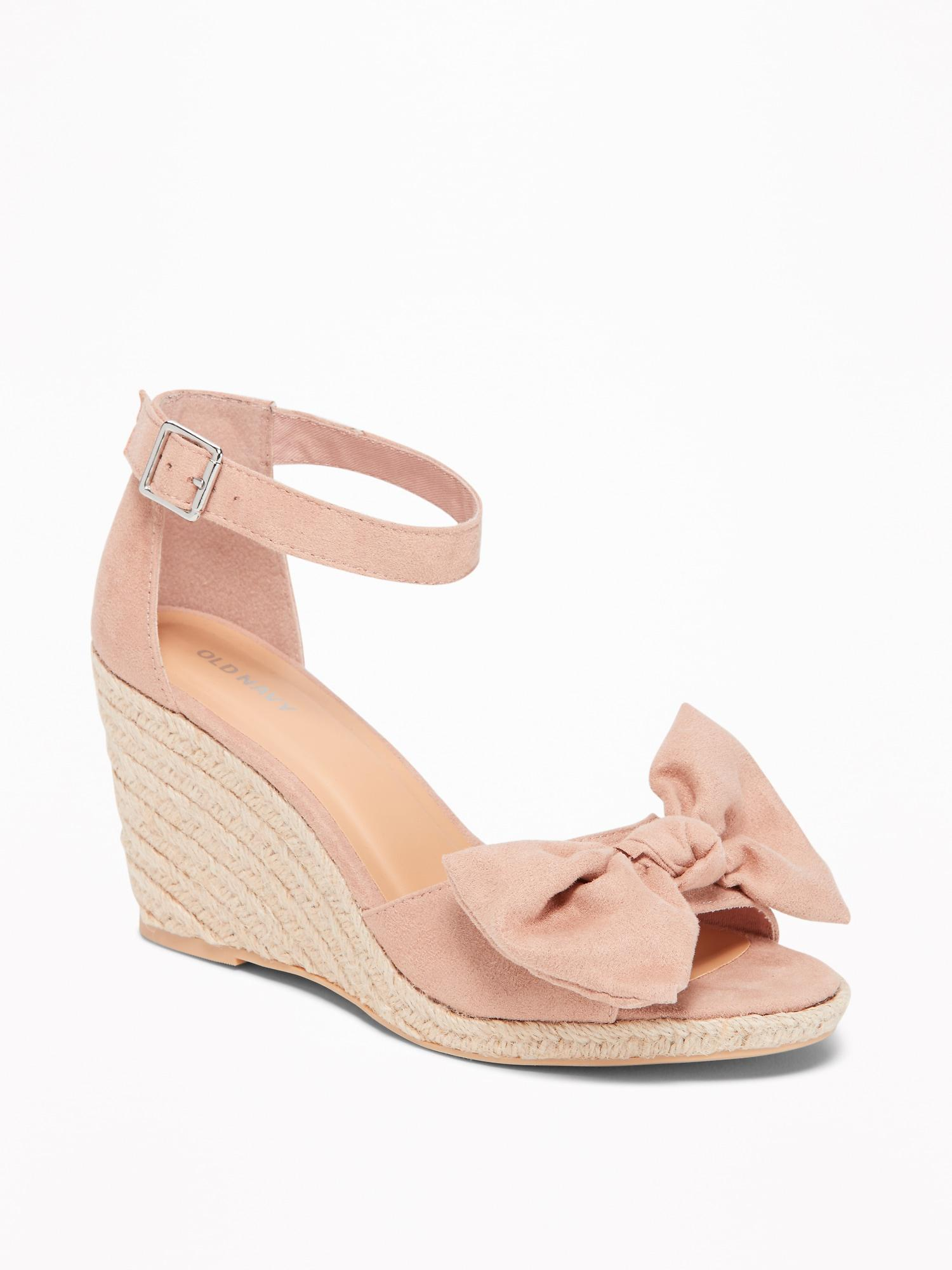 b6d06487056 Lyst - Old Navy Sueded Bow-tie Espadrille Wedges in Pink