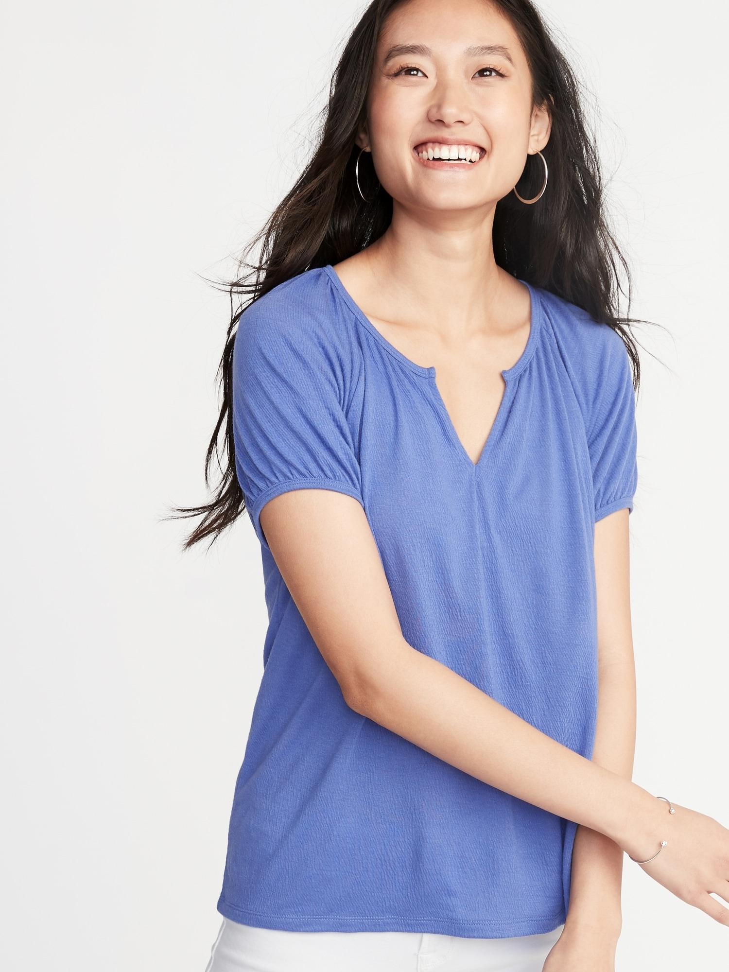 fbb4ec505f5 Lyst - Old Navy Relaxed Split-neck Textured Top in Blue