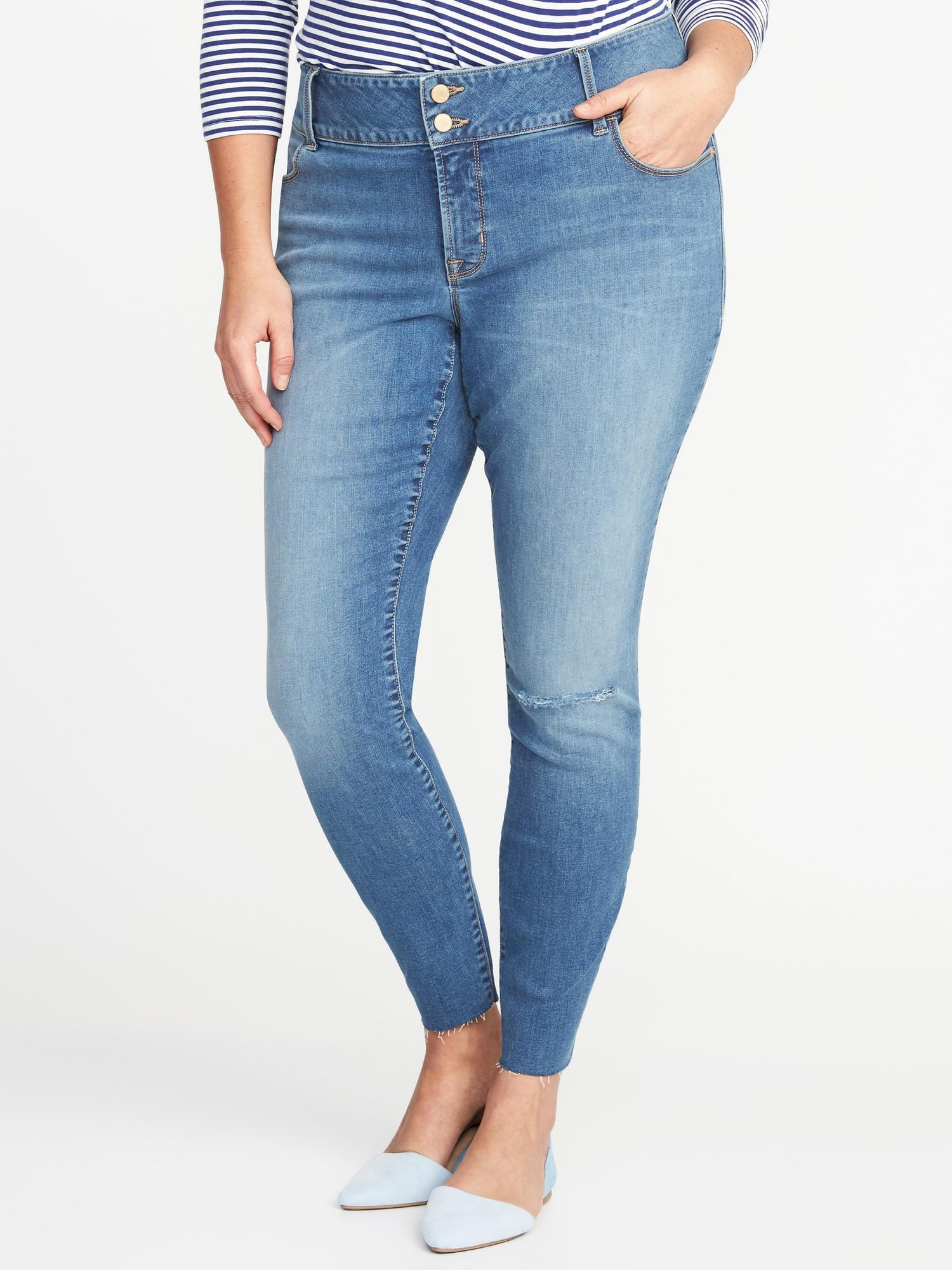 d983fa1e5f19 Old Navy. Women s Blue Secret-slim Pockets Plus-size Built-in Sculpt High-rise  Rockstar Jeans