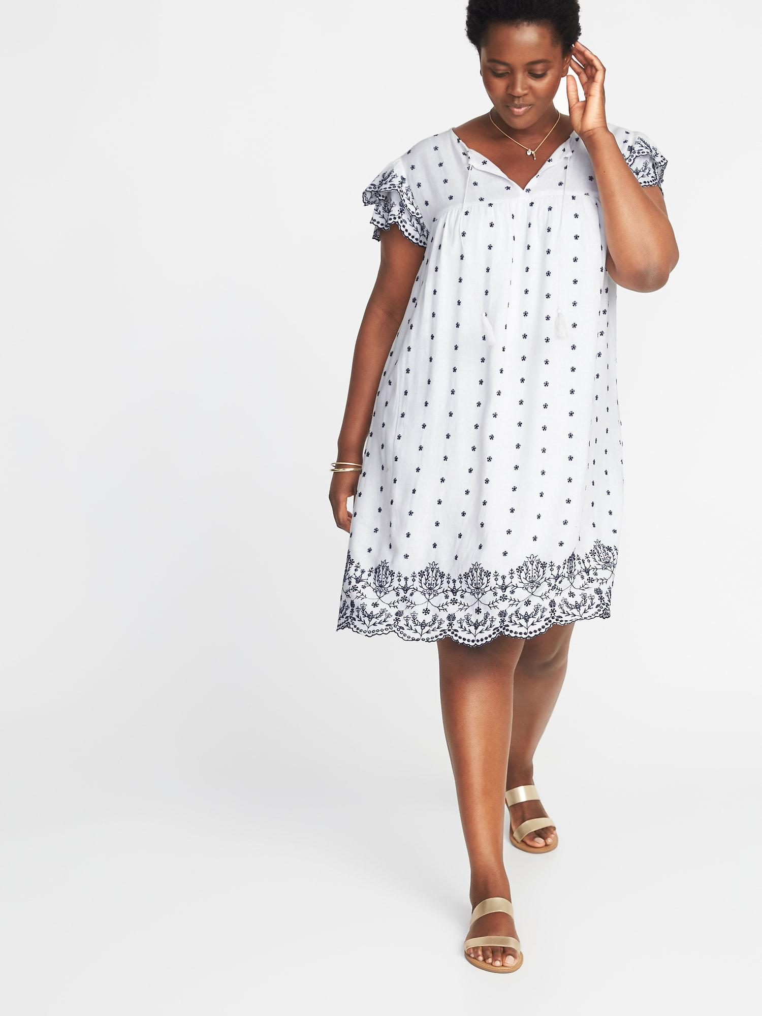 795178a6b92 Lyst - Old Navy Plus-size Linen-blend Cutwork Swing Dress in White