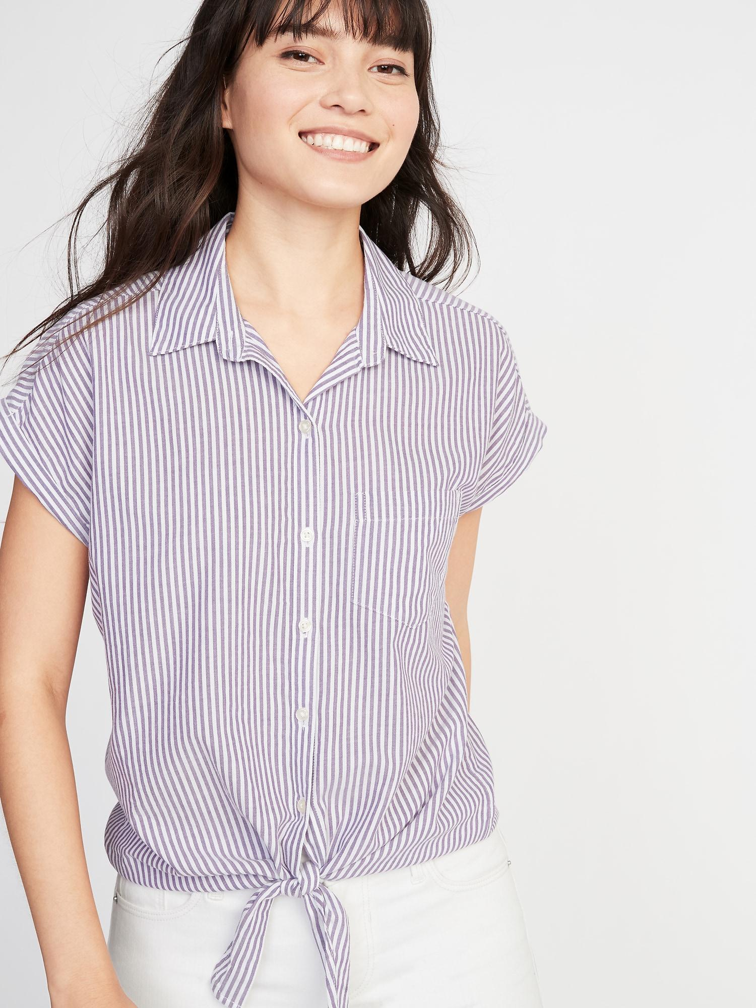 6b0c261e24e71 Old Navy Relaxed Tie-hem Button-front Striped Shirt in Purple - Lyst