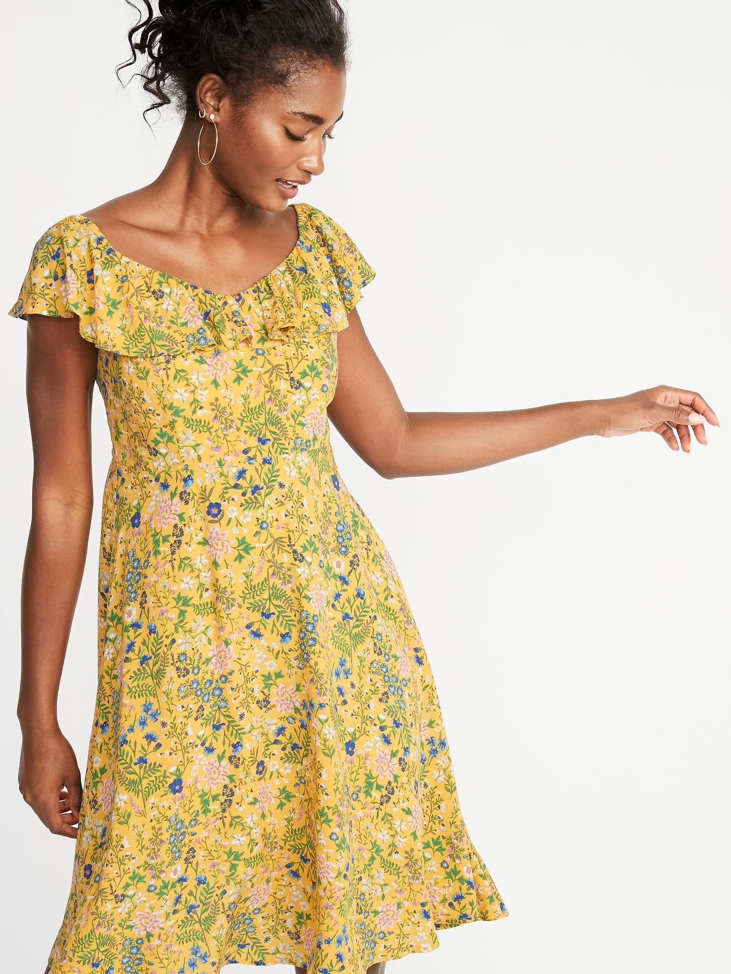 14c6a30dd270 Old Navy Ruffled Sweetheart-neck Fit & Flare Dress in Yellow - Lyst
