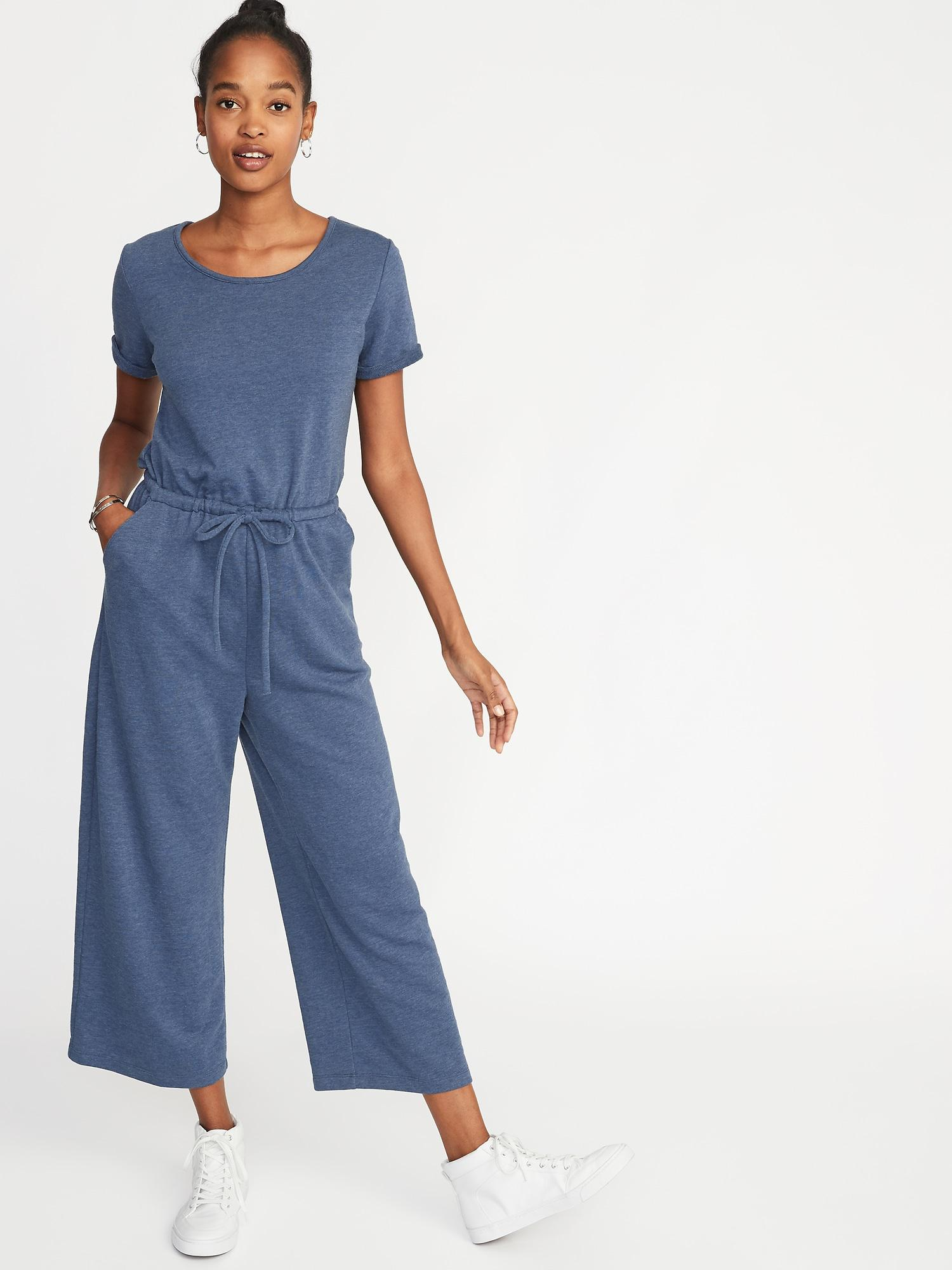e144a10ebc214 Old Navy Waist-defined Wide-leg French-terry Jumpsuit in Blue - Lyst