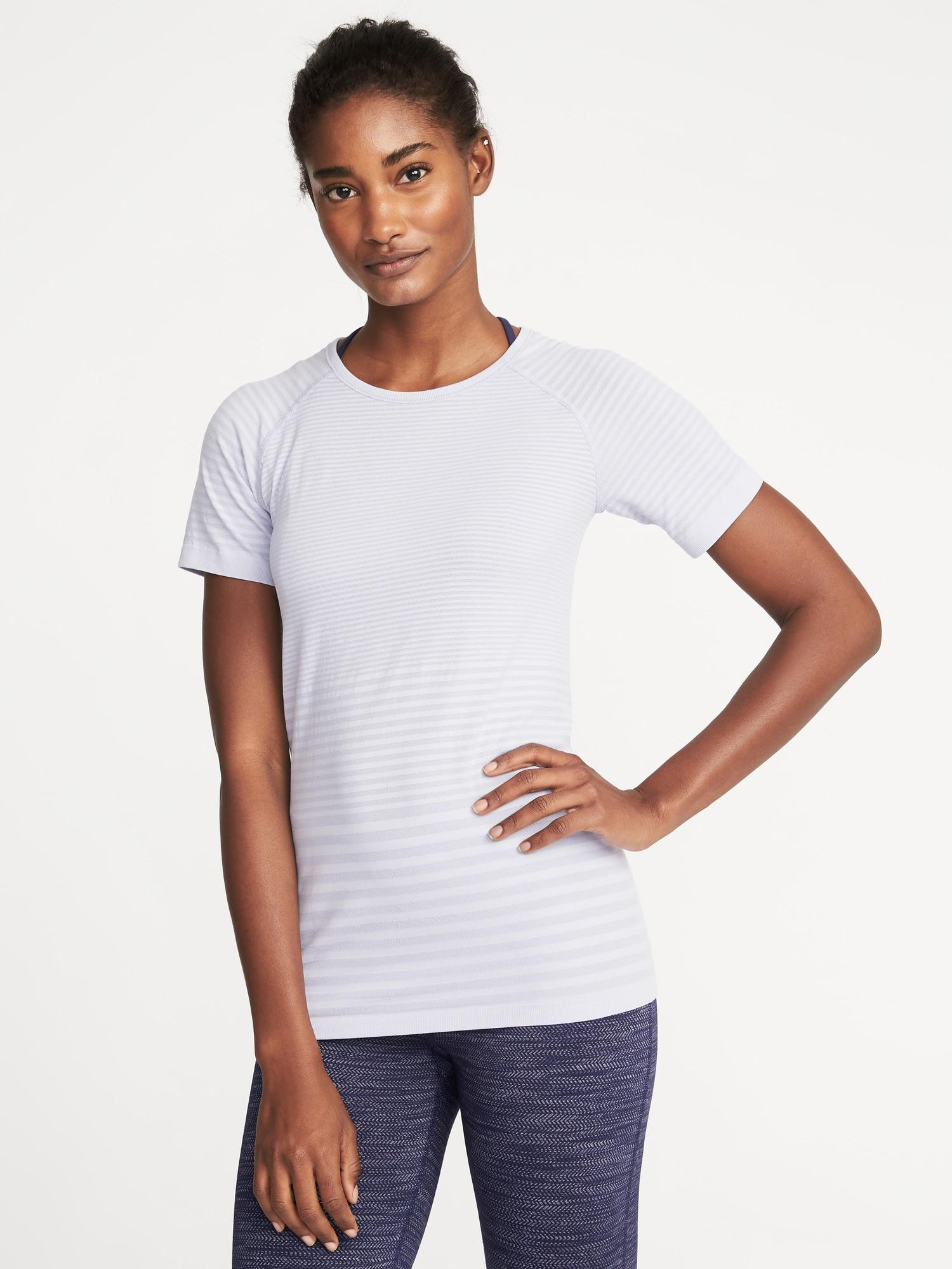fbeb191360555 Lyst - Old Navy Seamless Melange-stripe Top in White