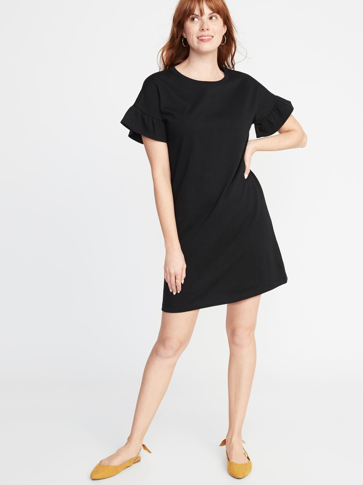 2c3040bb5461 Lyst - Old Navy Ruffle-sleeve Tee Dress in Black