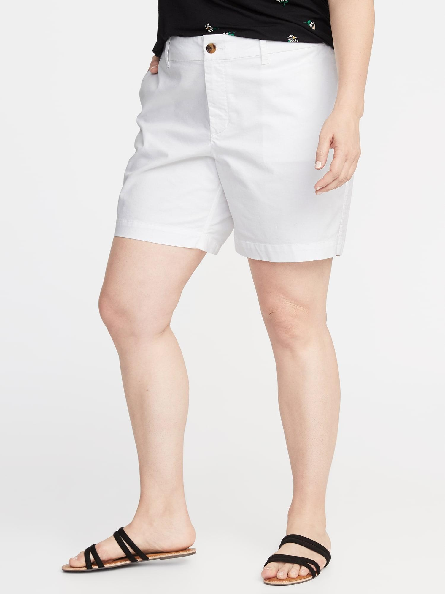 30a7e310a0 Old Navy. Women's White Mid-rise Plus-size Twill Everyday Shorts - 7-inch  Inseam