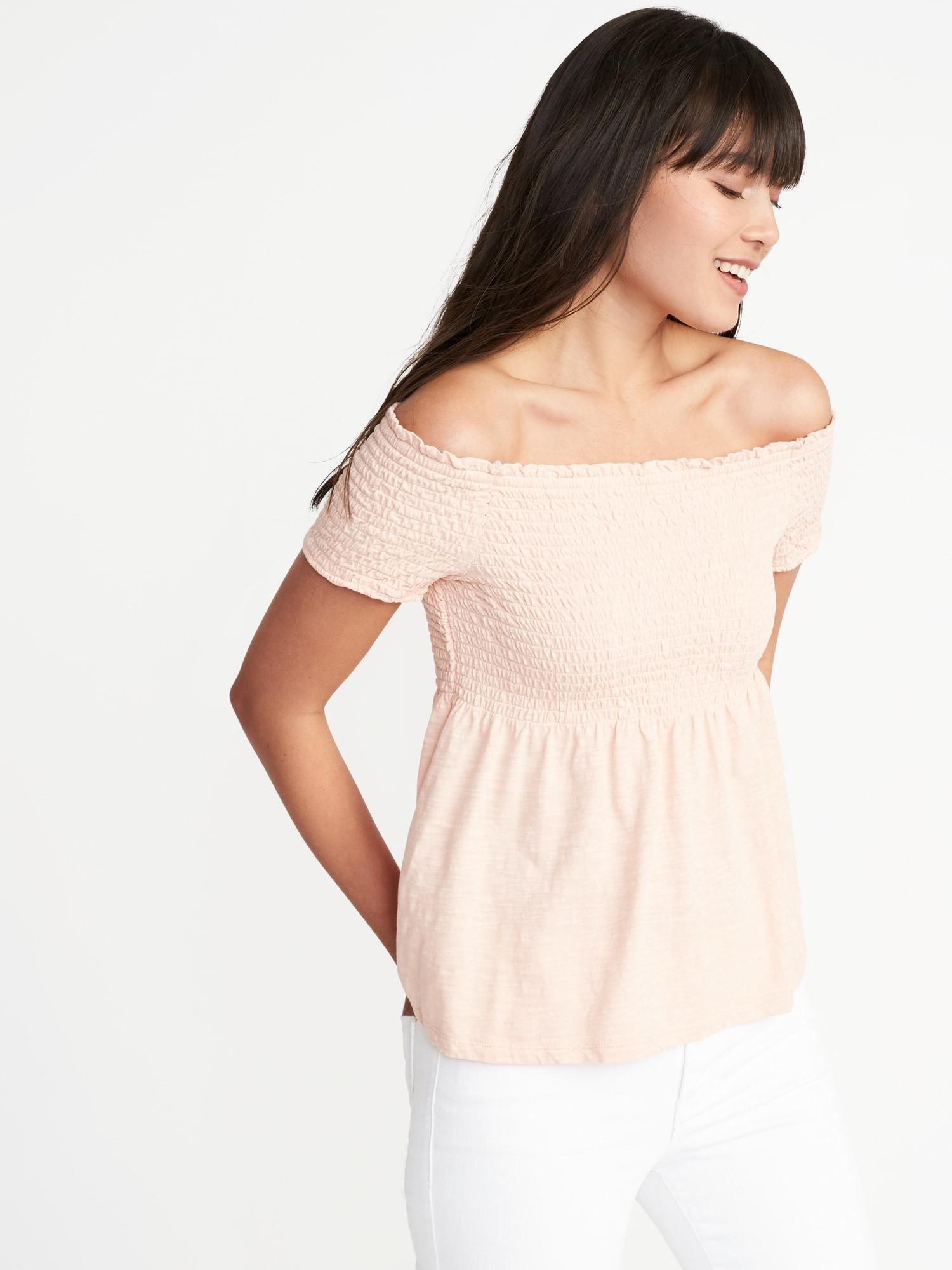d4e100260a1 Old Navy Smocked Off-the-shoulder Peplum Top - Lyst