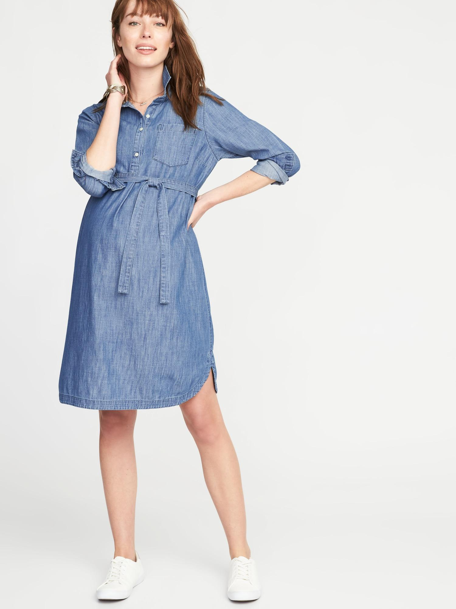 f9d7f44a9f23f Lyst - Old Navy Maternity Tie-belt Chambray Shirt Dress in Blue