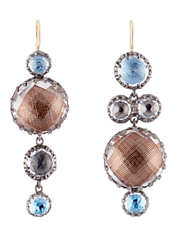Larkspur & Hawk Sadie Four-Drop Earrings in Multi-Blue Foil WFHZjP2