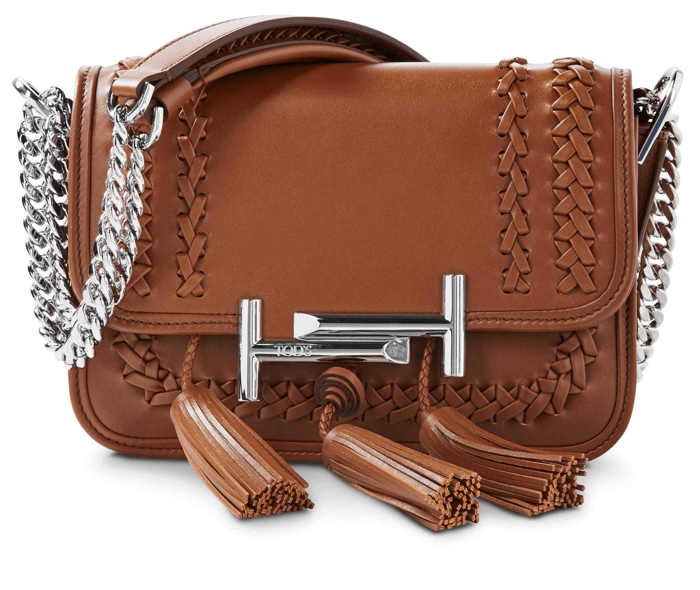 0111fb458a0 Tod's Mini Double T Tassel Crossbody Bag in Brown - Lyst