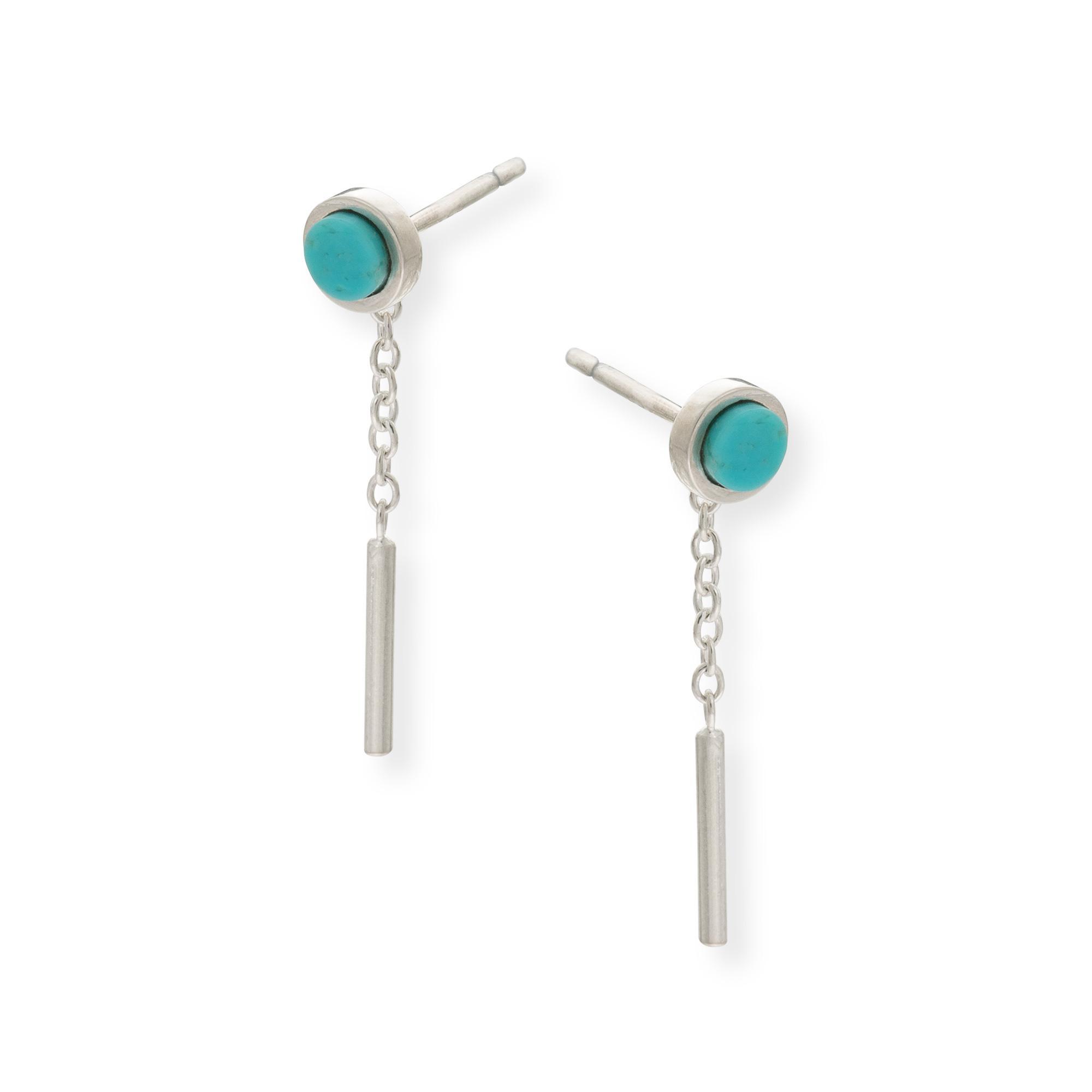 Oliver Bonas Flat Cut Stone & Chain Silver Stud Earrings in Blue - Lyst